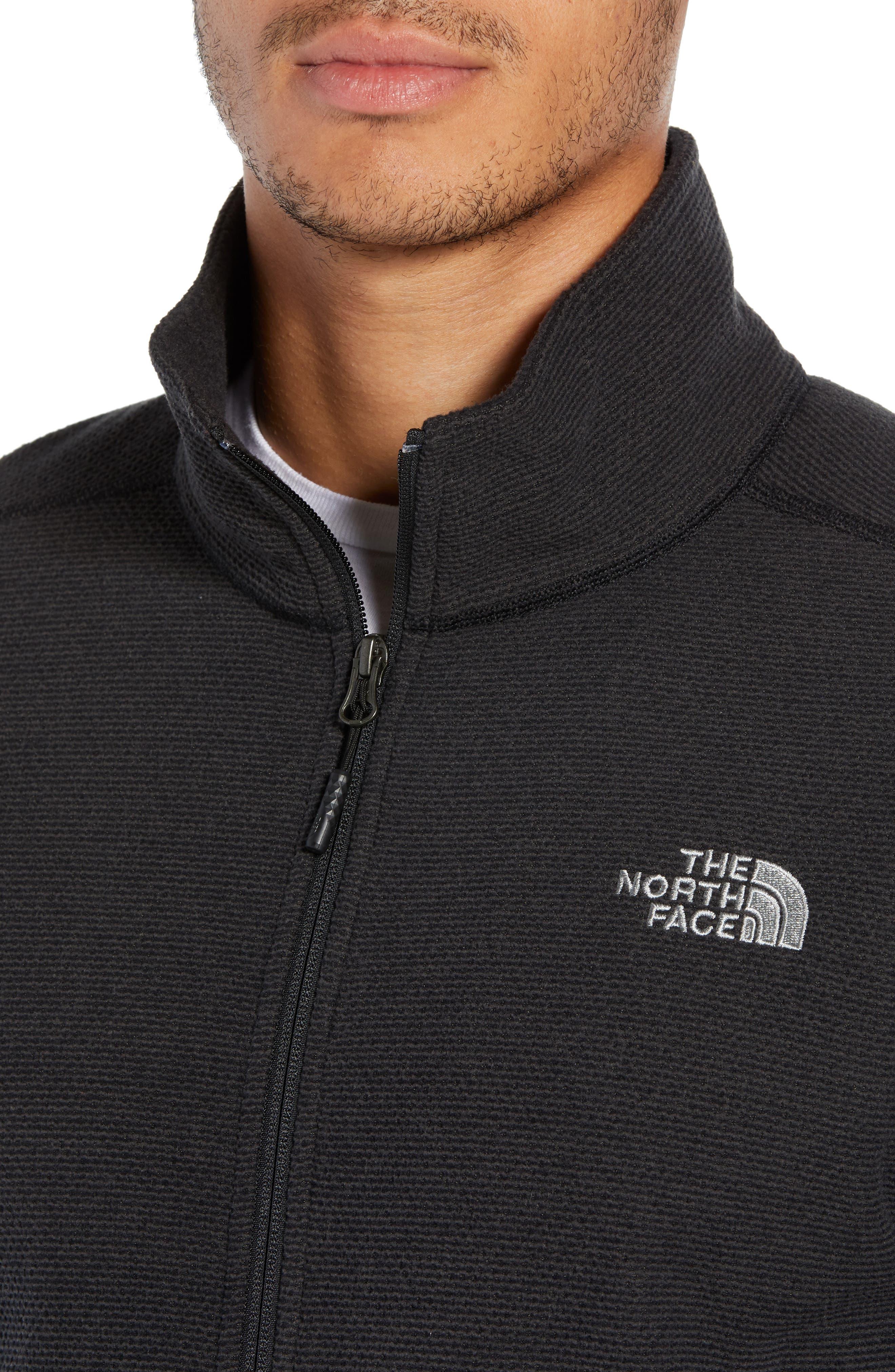 Texture Cap Rock Fleece Jacket,                             Alternate thumbnail 4, color,                             TNF BLACK