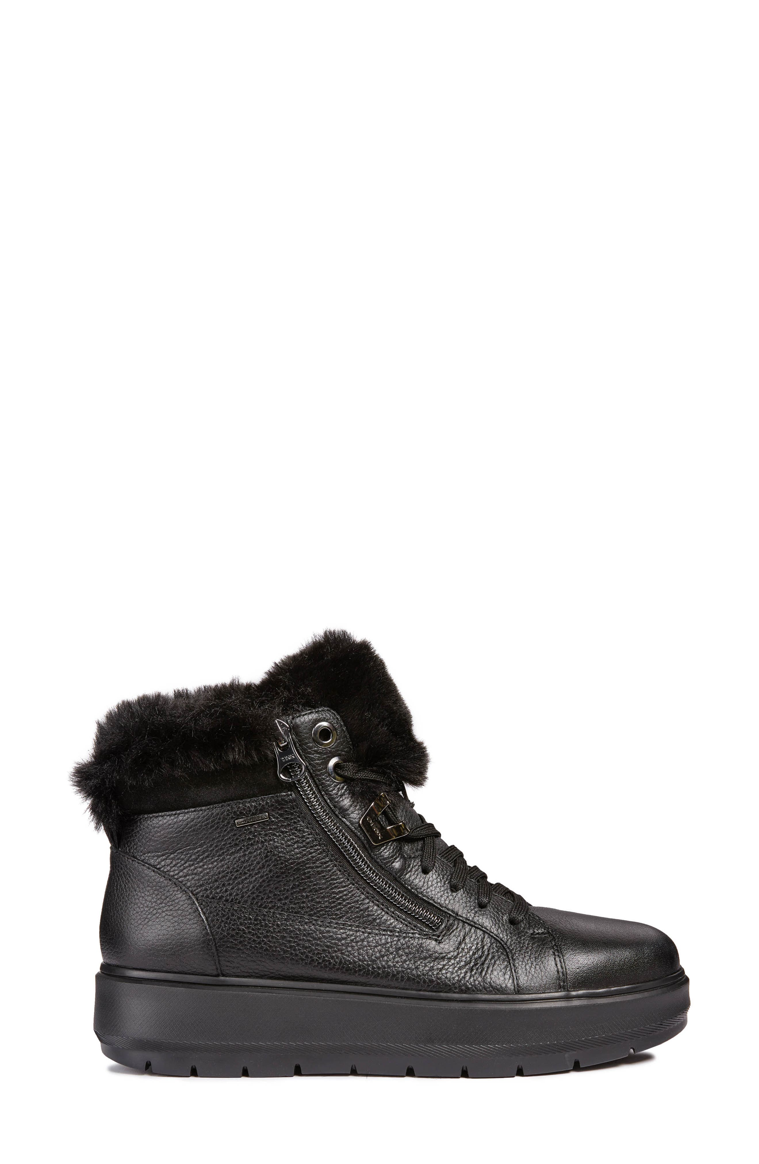 Kaula ABX Waterproof Faux-Fur Cuff Sneaker,                             Alternate thumbnail 3, color,                             BLACK LEATHER