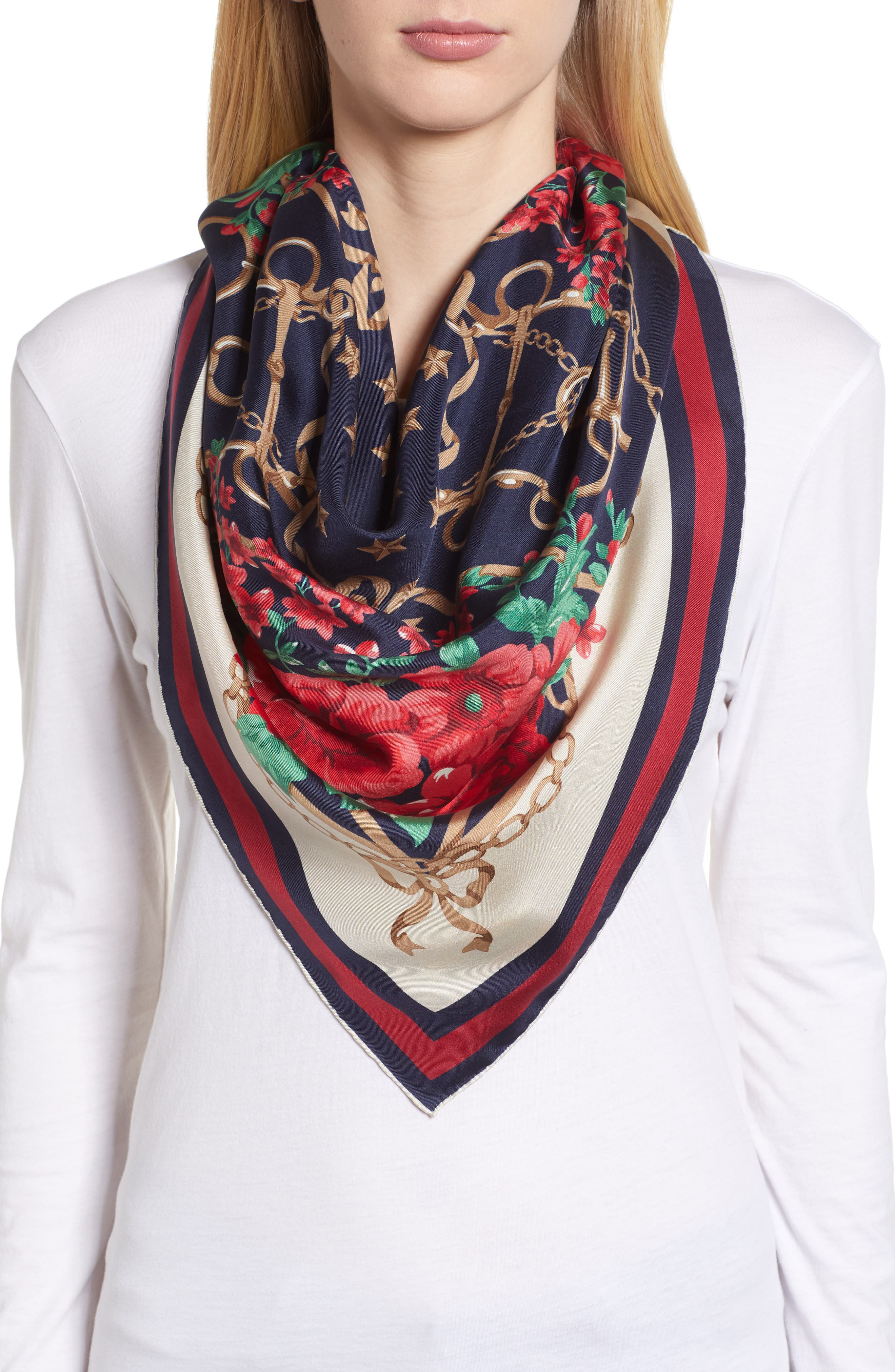 Rose Chain Foulard Silk Twill Scarf,                             Alternate thumbnail 5, color,                             MIGHTNIGHT BLUE/ RED