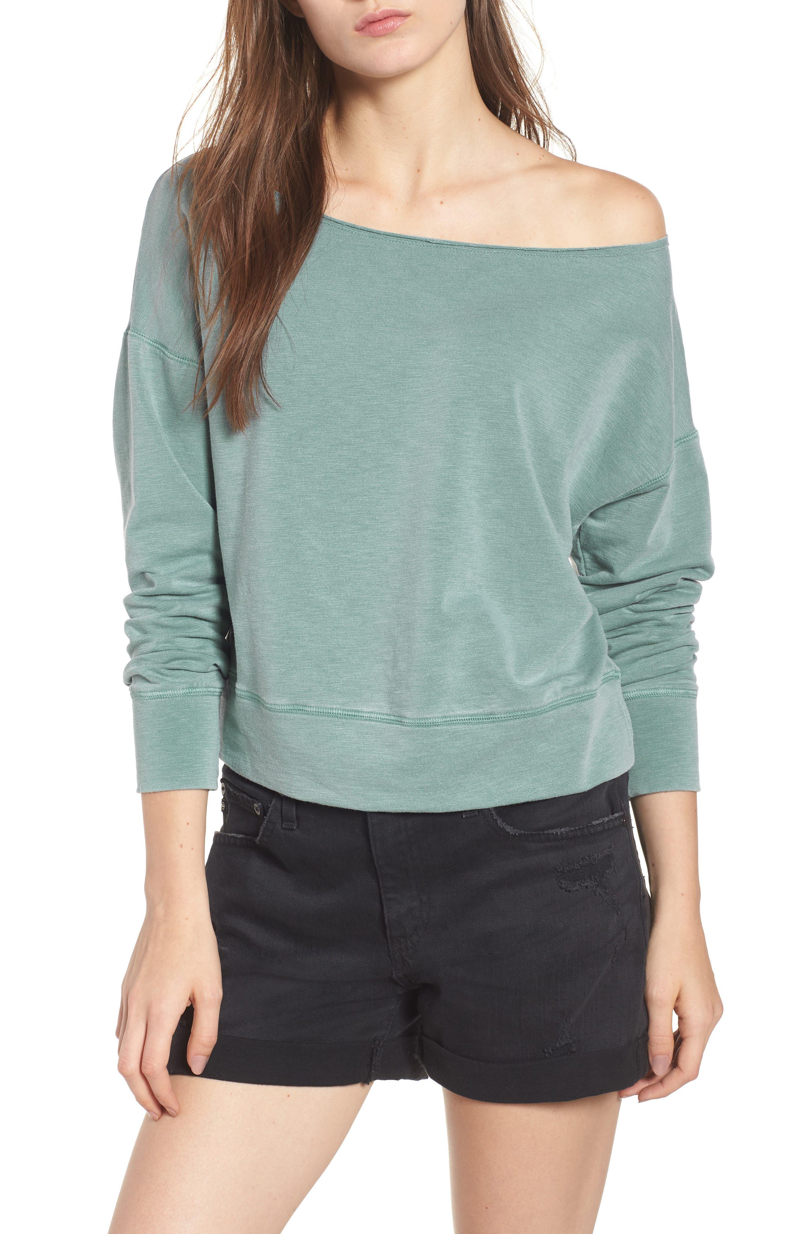 Off the Shoulder Sweatshirt,                         Main,                         color, PIGMENT BASIL