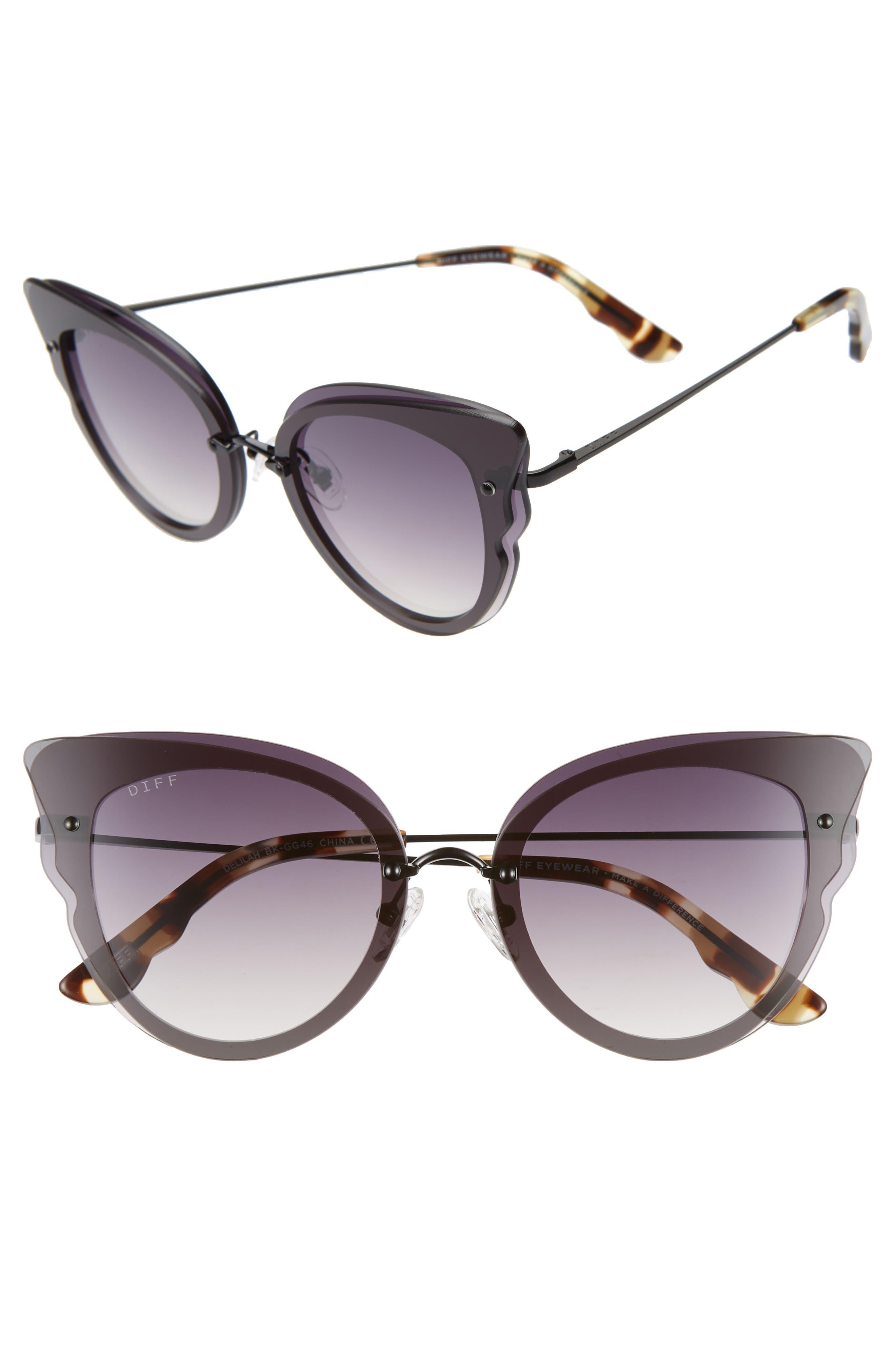 Delilah 49mm Cat Eye Sunglasses,                         Main,                         color, BLACK/ GREY