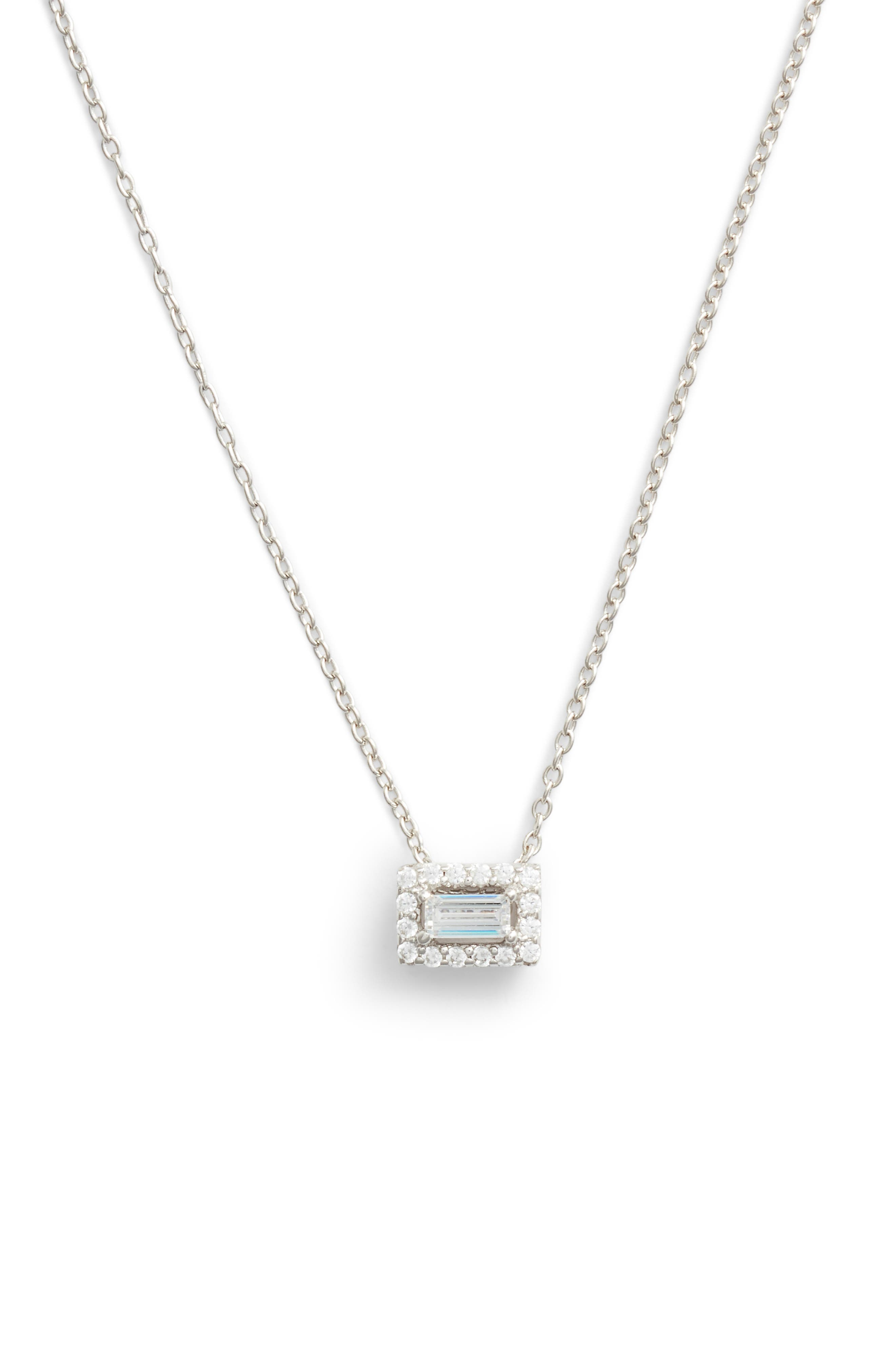 Baguette Halo Necklace,                         Main,                         color, SILVER/ CLEAR