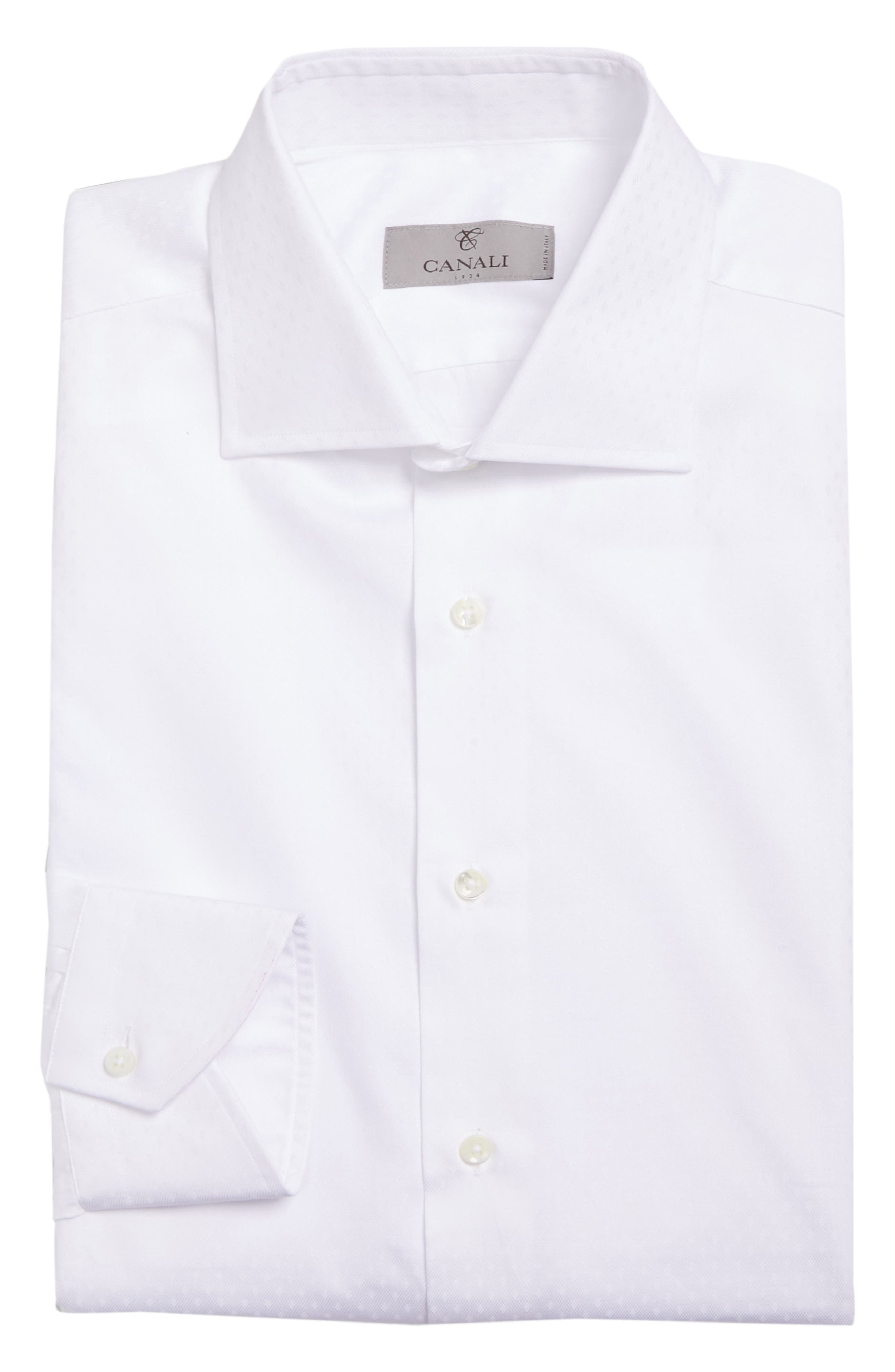 CANALI,                             Regular Fit Solid Dress Shirt,                             Alternate thumbnail 5, color,                             100