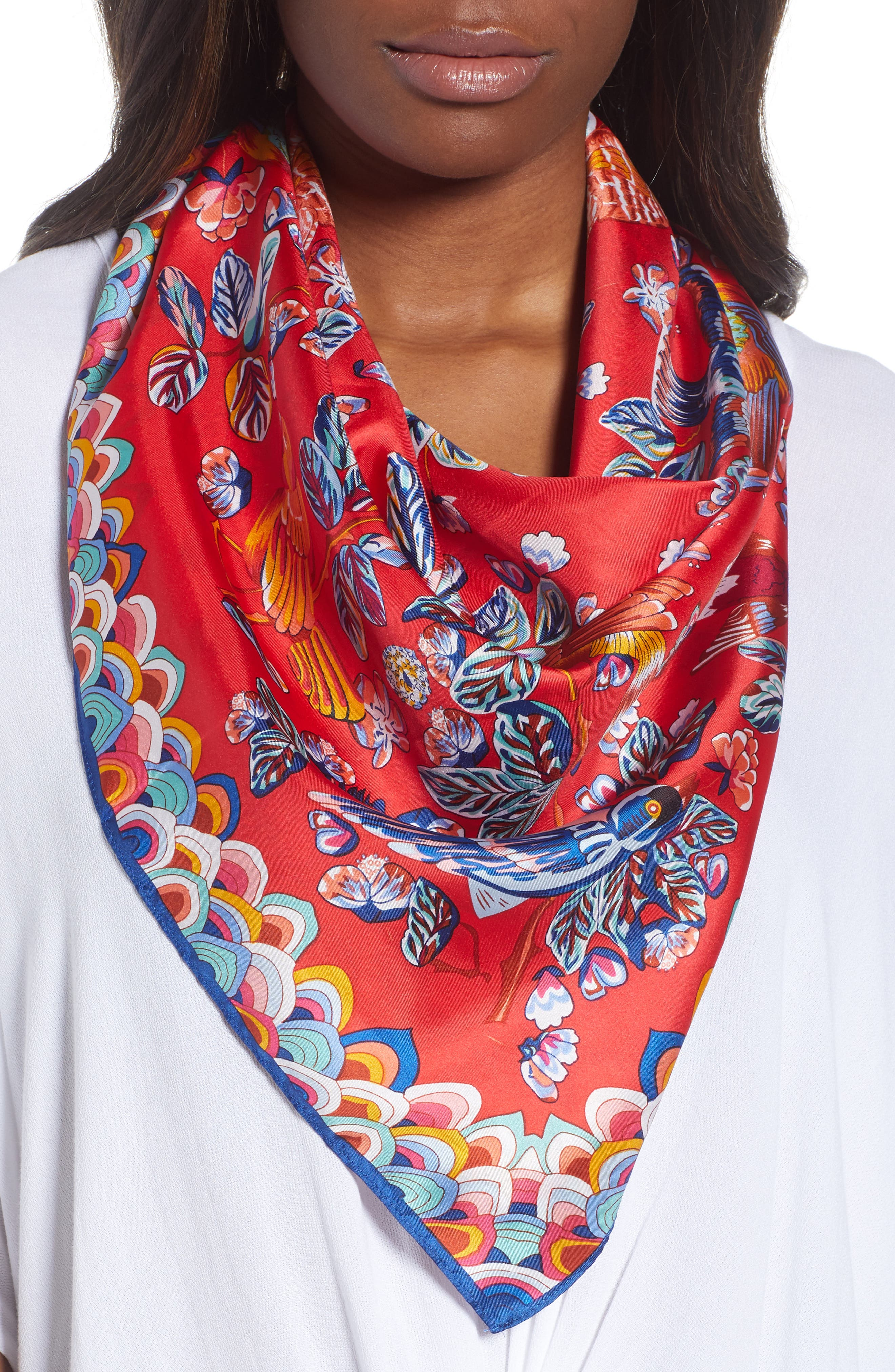 Flight of Fancy Square Silk Scarf,                             Main thumbnail 2, color,