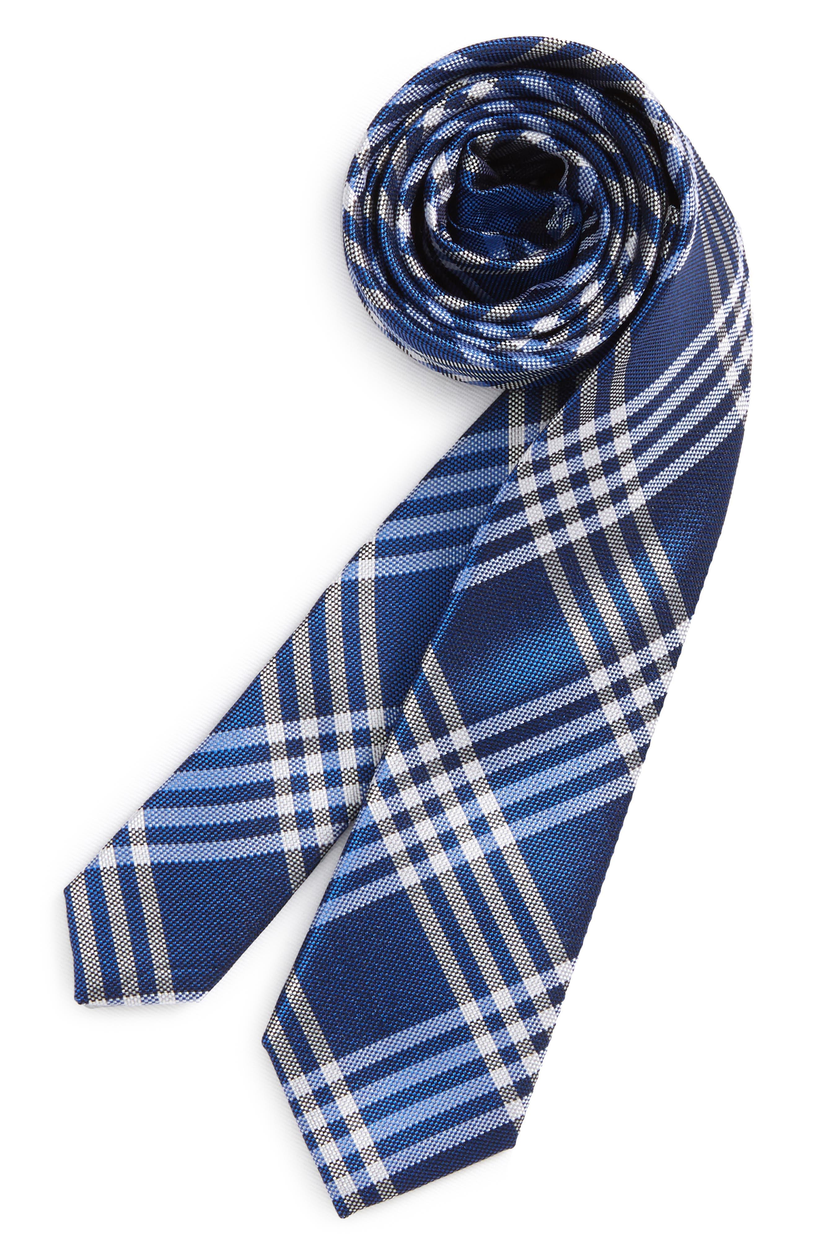 Oversize Check Silk Tie,                         Main,                         color, 400