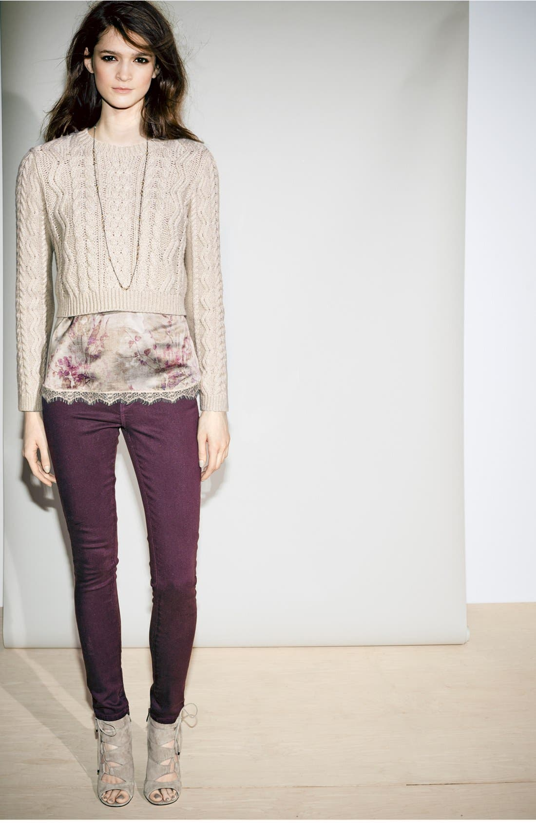 CHELSEA28,                             Cabled Crop Sweater,                             Alternate thumbnail 7, color,                             020