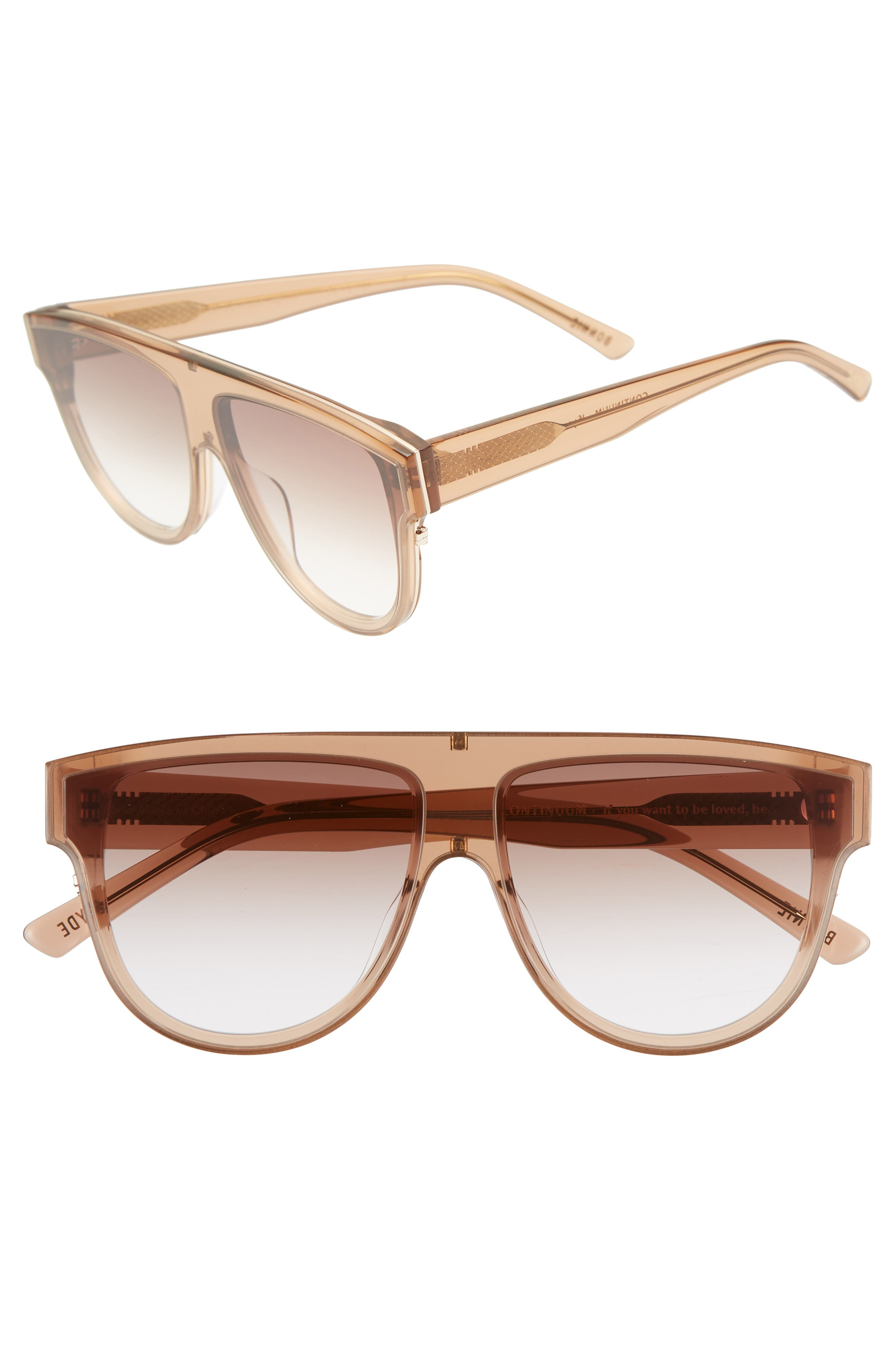 Continuum 63mm Oversize Flat Top Sunglasses,                             Main thumbnail 1, color,                             AMBER GRADIENT