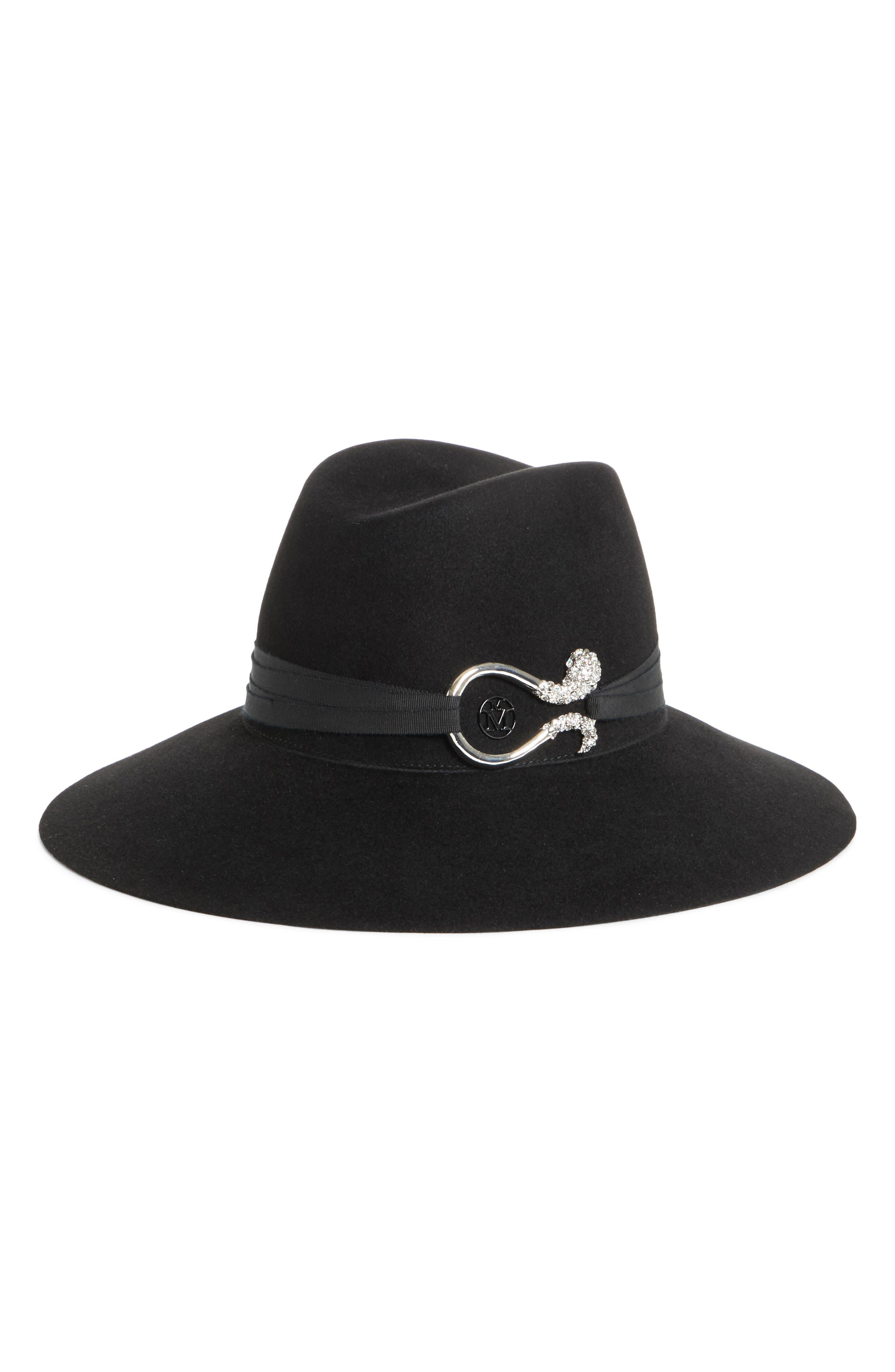 Kate Strass Tentacles Rabbit Hair Felt Hat,                             Main thumbnail 1, color,                             BLACK