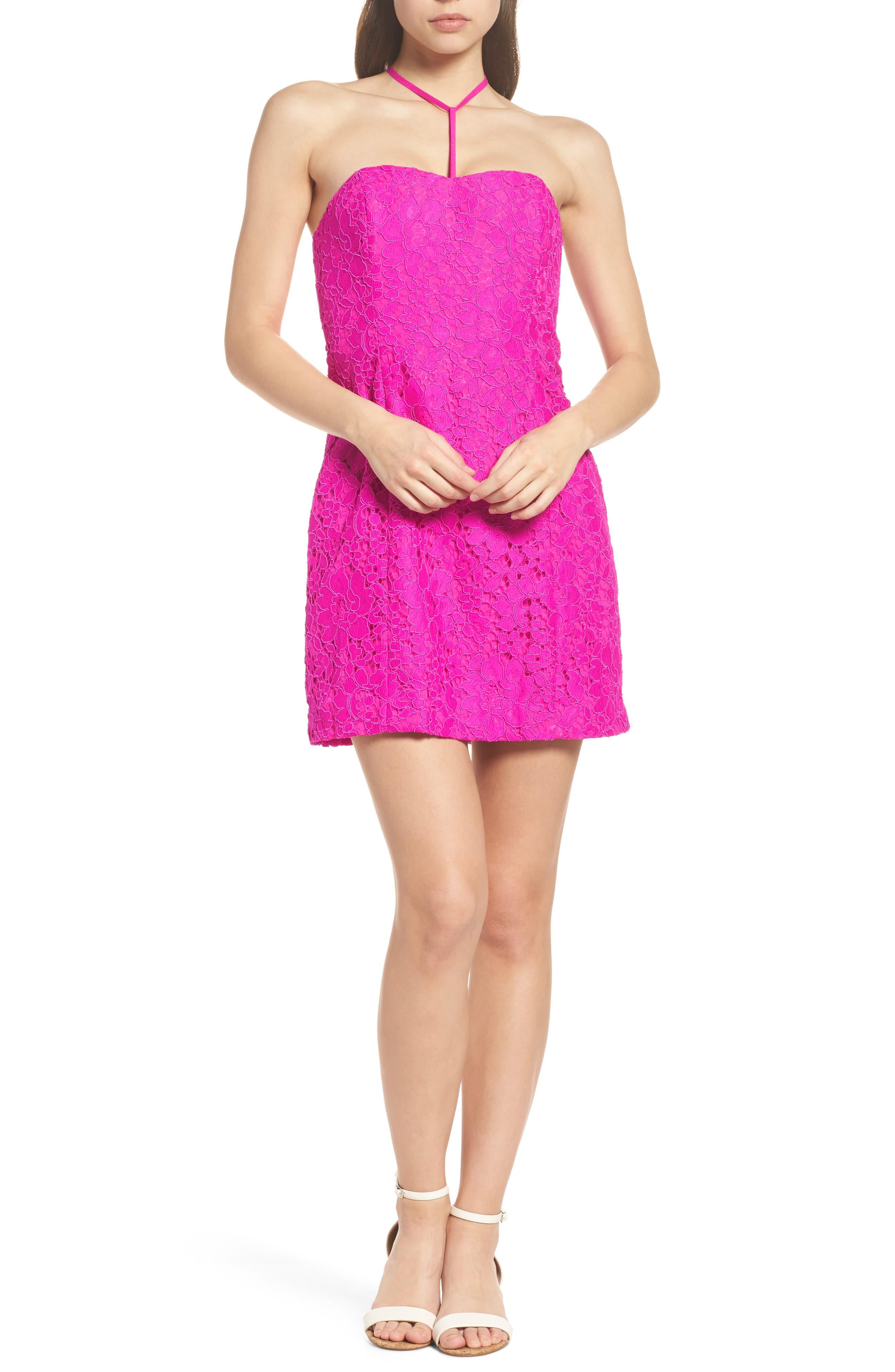 Demi Lace Dress,                             Alternate thumbnail 3, color,                             BERRY SANGRIA FLORAL LACE