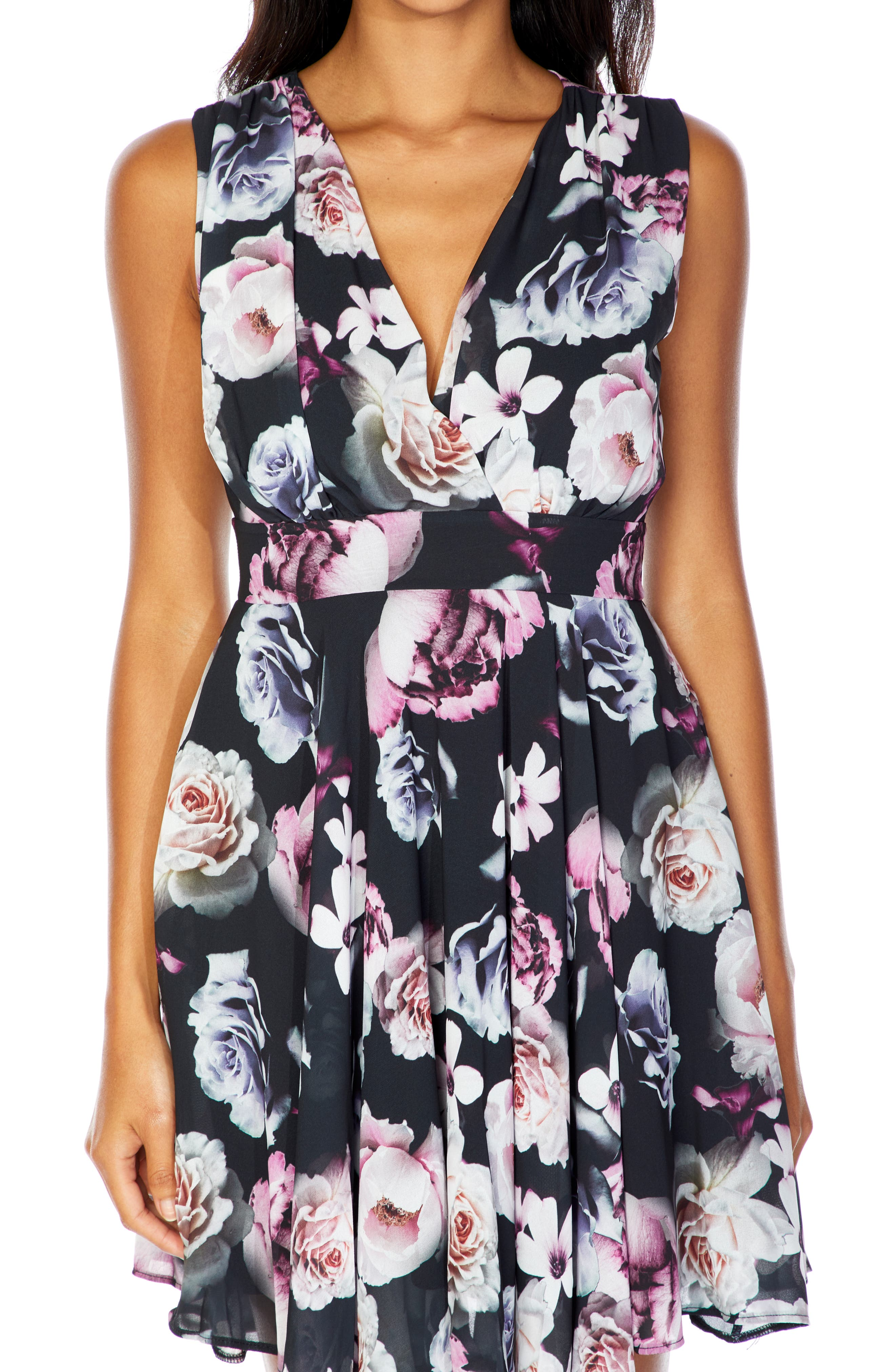 V-Neck Fit & Flare Dress,                             Alternate thumbnail 3, color,                             BLACK