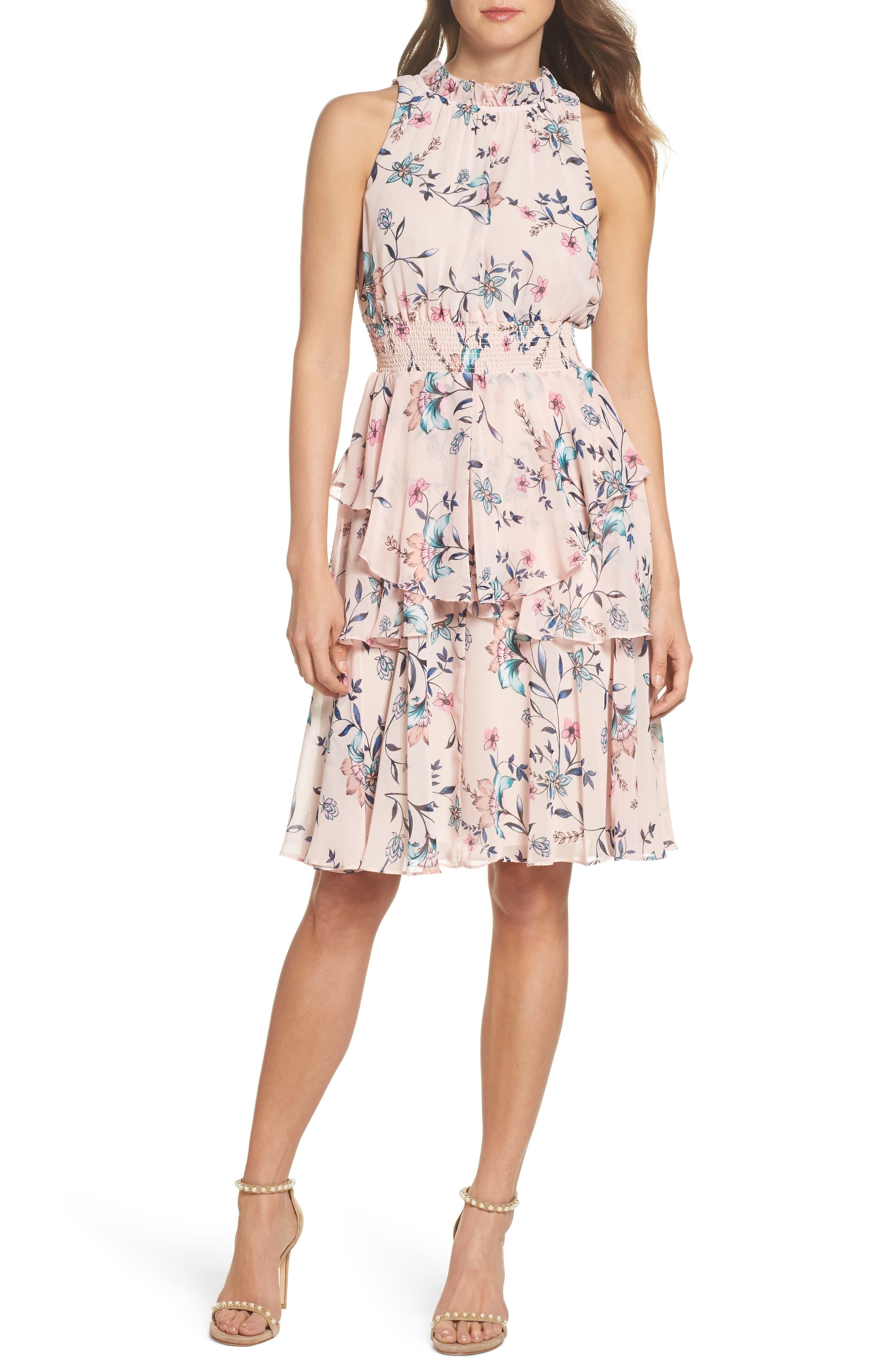 Eliza J Floral Ruffle A-Line Dress, Pink