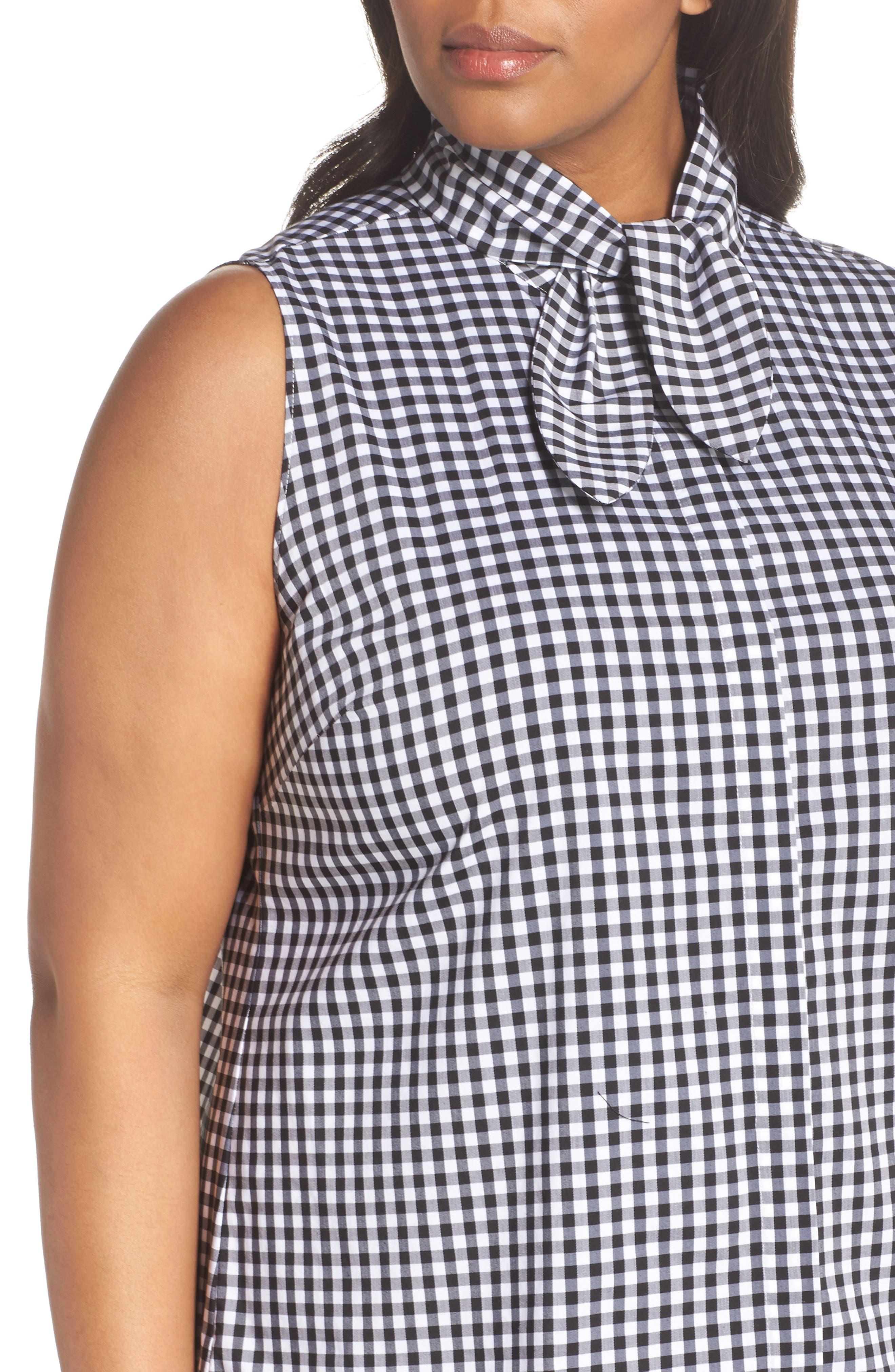 Tie Collar Cotton Blend Top,                             Alternate thumbnail 4, color,                             001