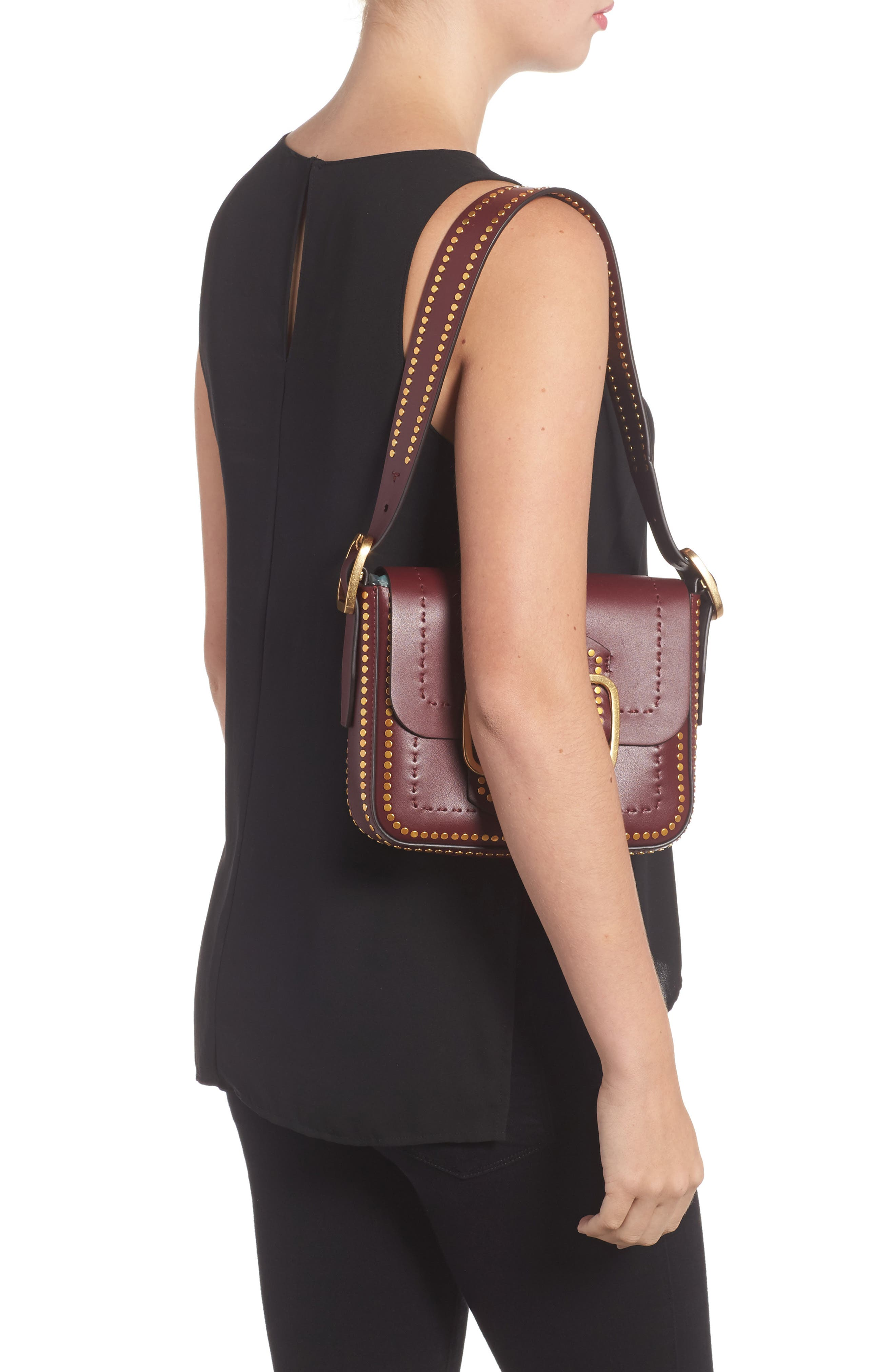Small Sawyer Studded Leather Shoulder Bag,                             Alternate thumbnail 2, color,                             616