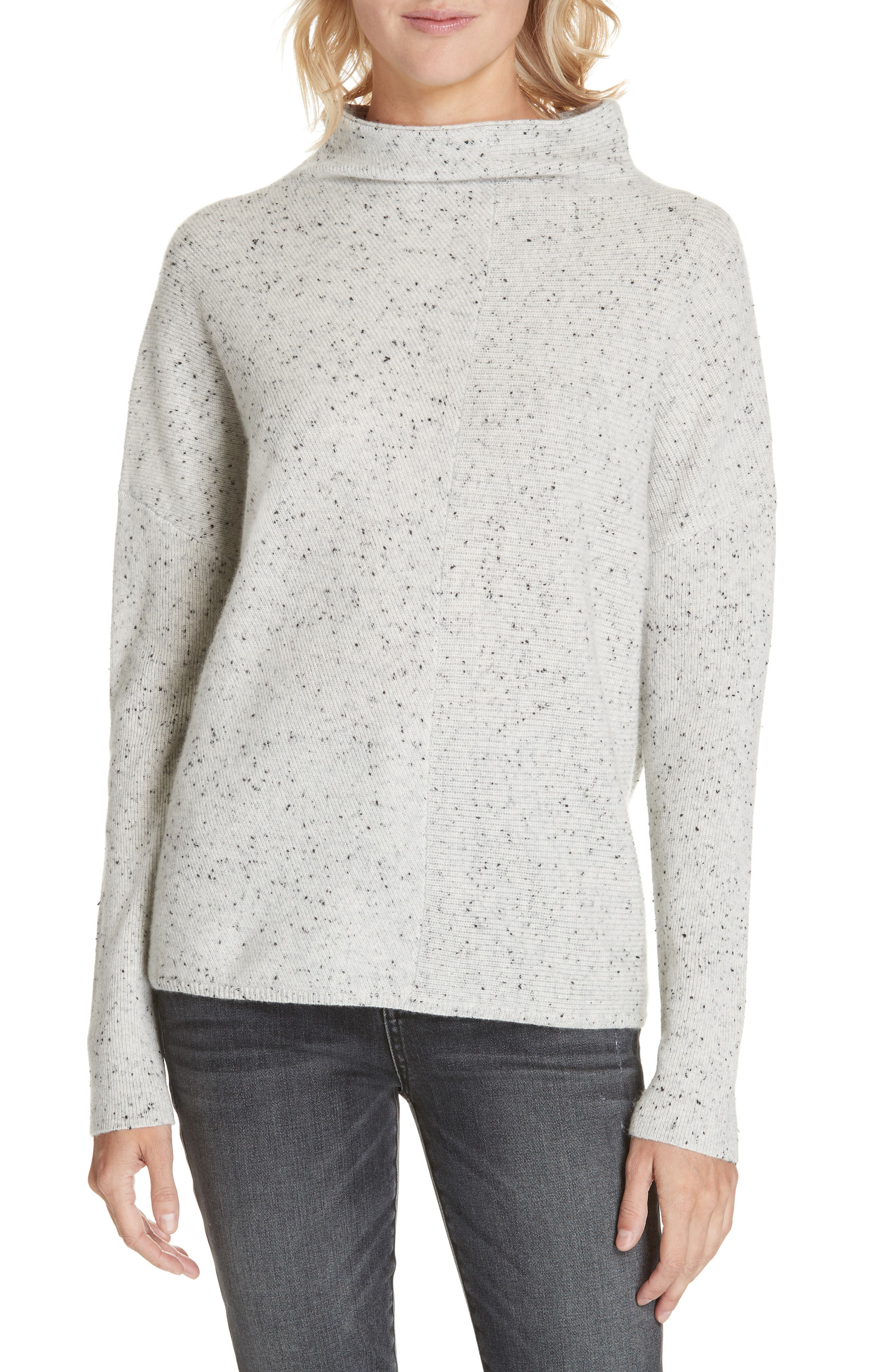 Cashmere Directional Rib Mock Neck Sweater,                         Main,                         color, 050