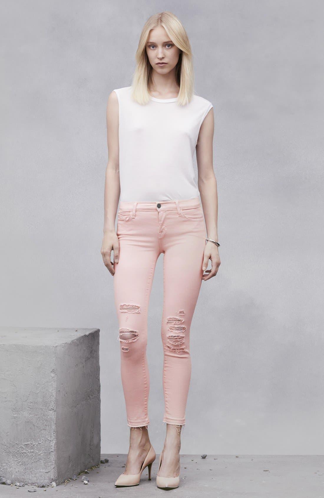 J BRAND,                             'Little Pink Jean' Low RiseCropSkinny Jeans,                             Alternate thumbnail 3, color,                             650