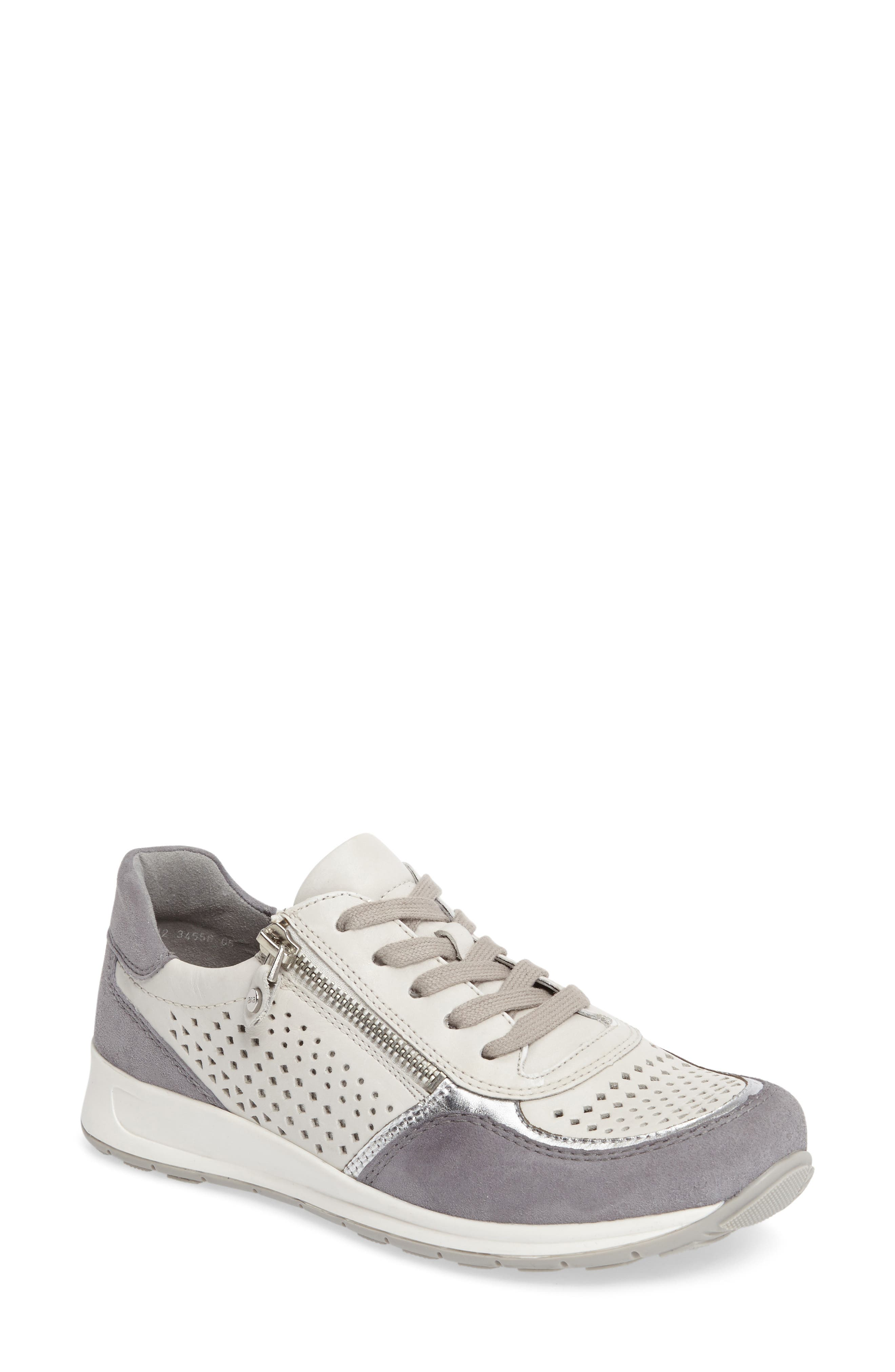 Olivia Perforated Sneaker,                             Main thumbnail 1, color,                             SILVER SUEDE