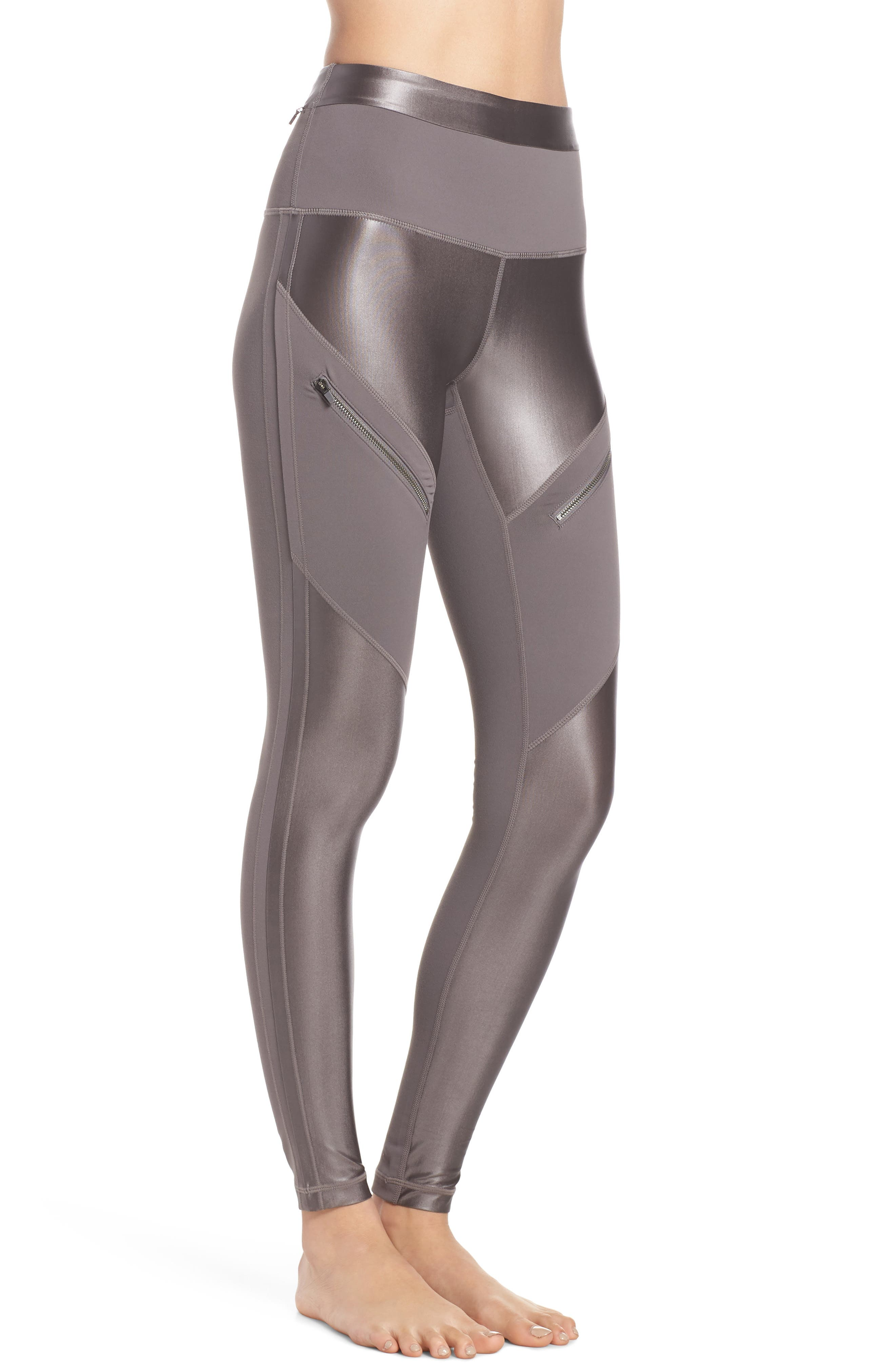 ZELLA,                             Shine Zip High Waist Ankle Leggings,                             Alternate thumbnail 3, color,                             021