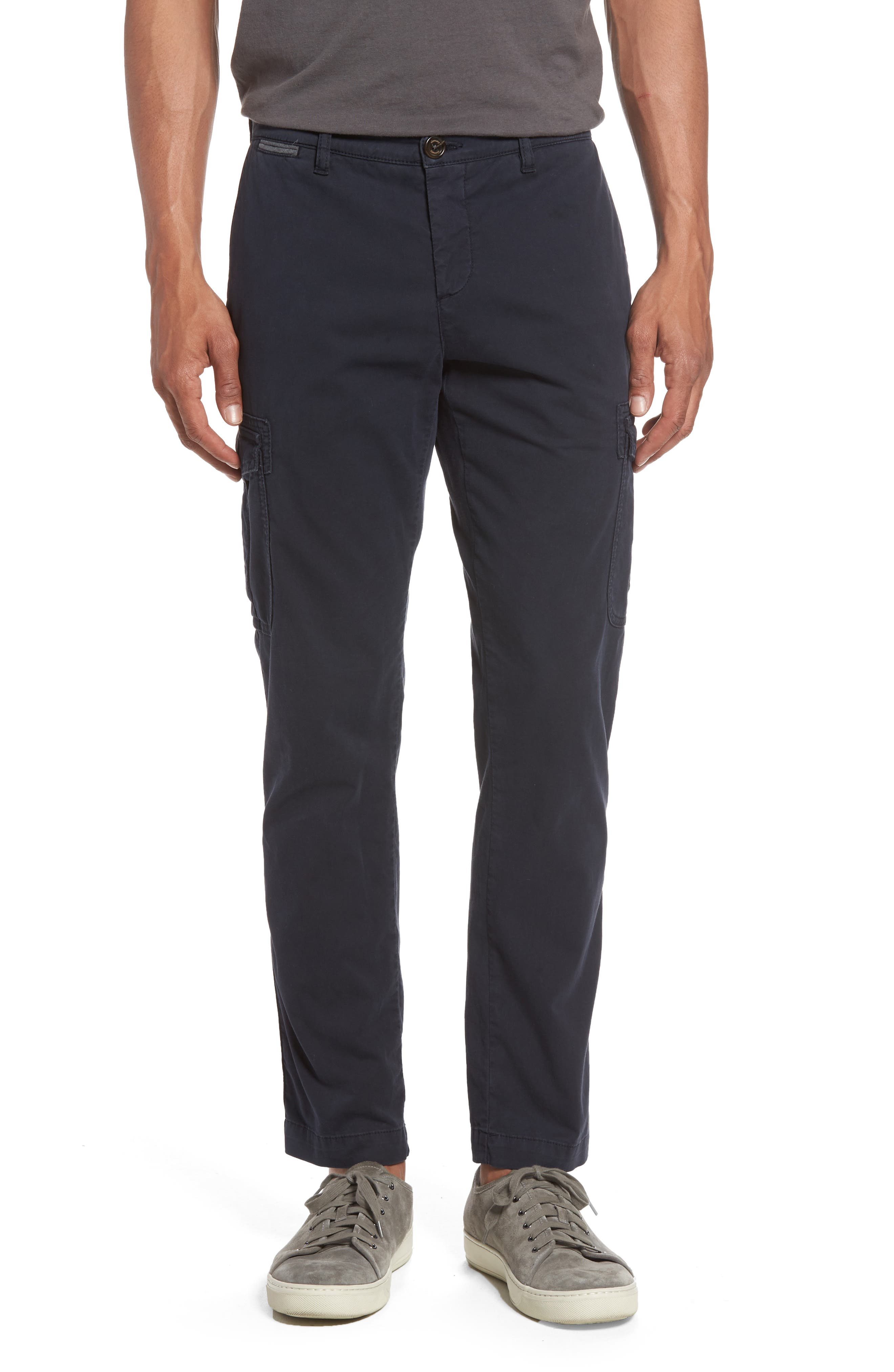 Eleventy Stretch Cotton Cargo Pants, Blue