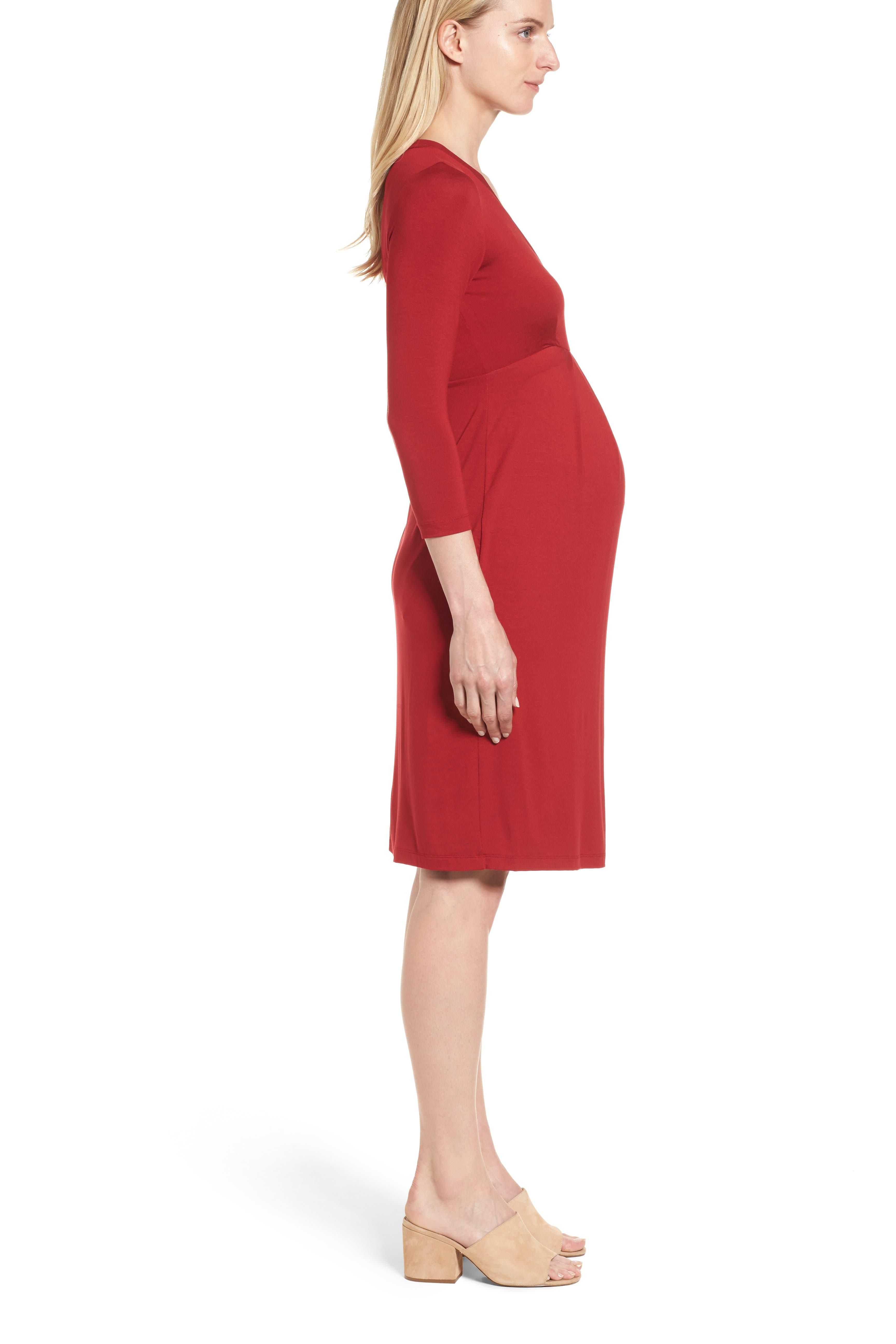 ISABELLA OLIVER,                             Gracia Surplice Maternity Dress,                             Alternate thumbnail 3, color,                             CARDAMOM RED