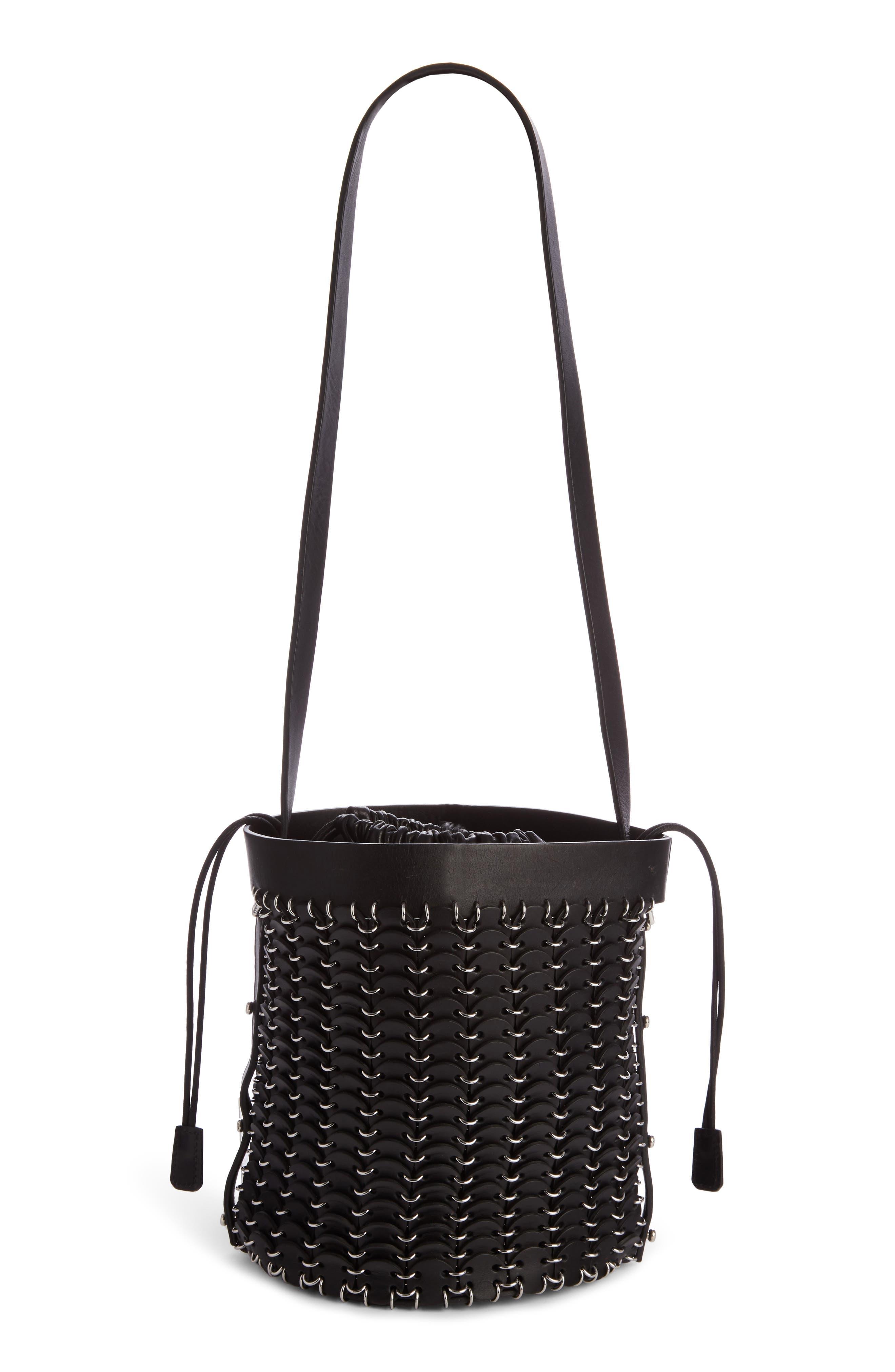 Calfskin Bucket Bag,                             Alternate thumbnail 3, color,                             BLACK