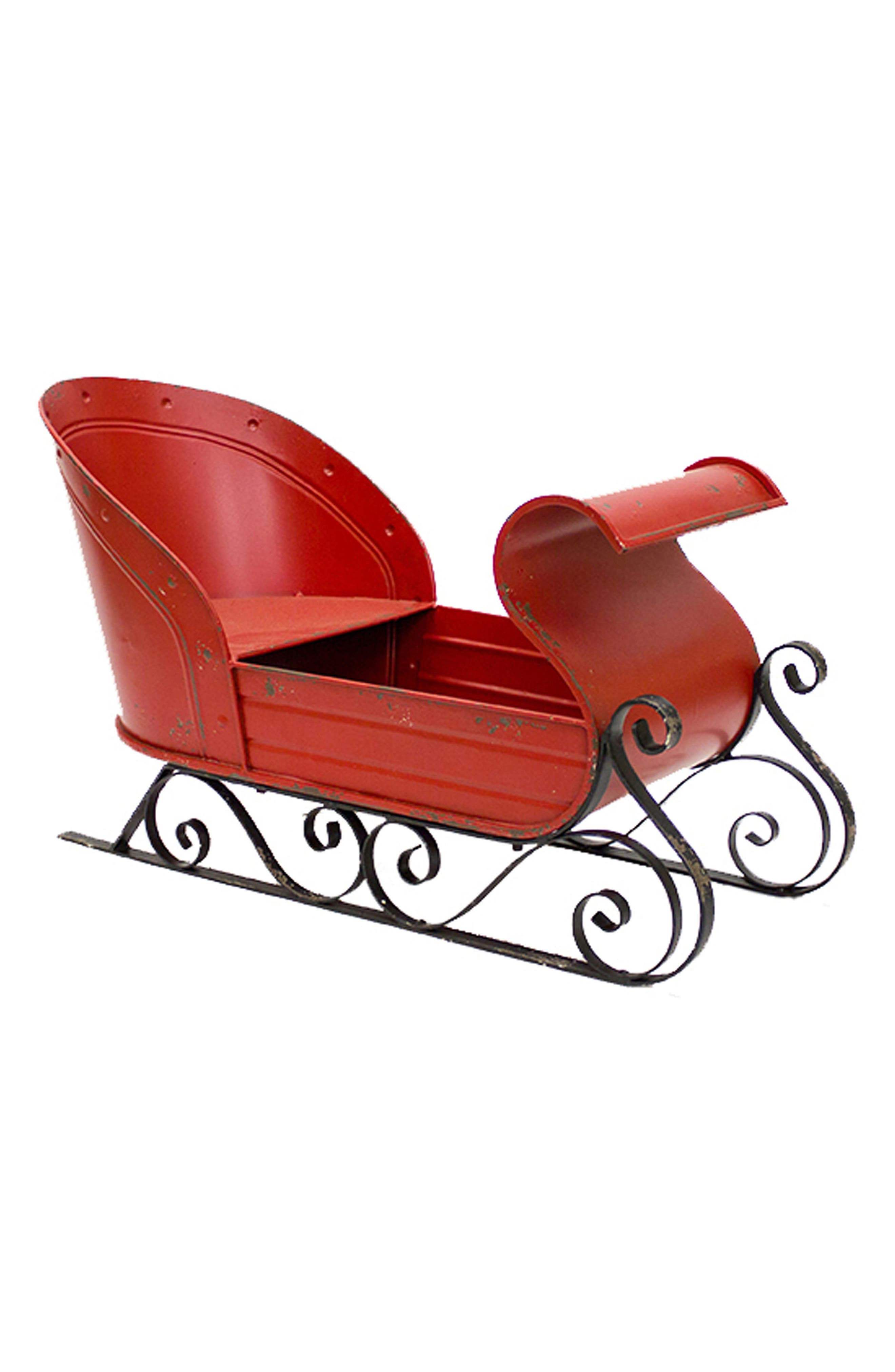 Sleigh Decoration,                             Main thumbnail 1, color,                             RED BLACK