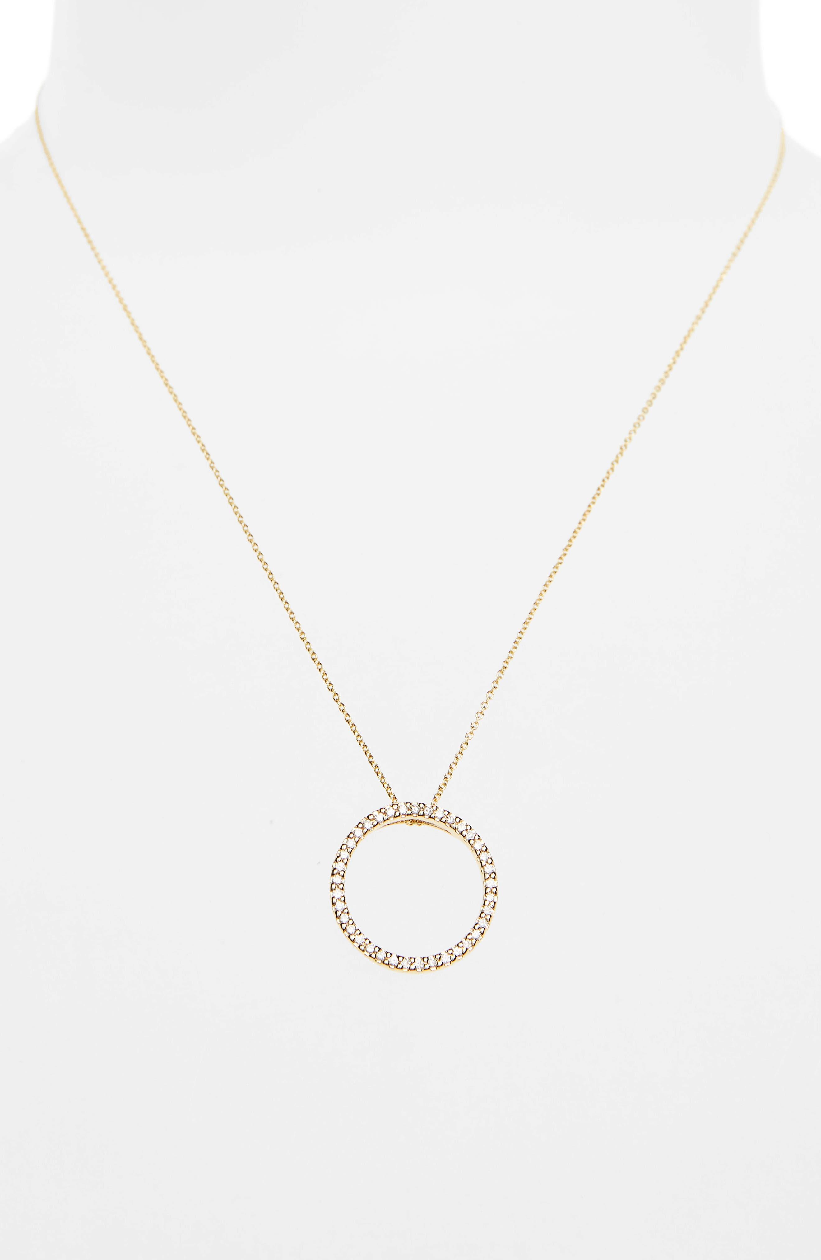 Diamond Circle Necklace,                             Alternate thumbnail 2, color,                             YELLOW GOLD