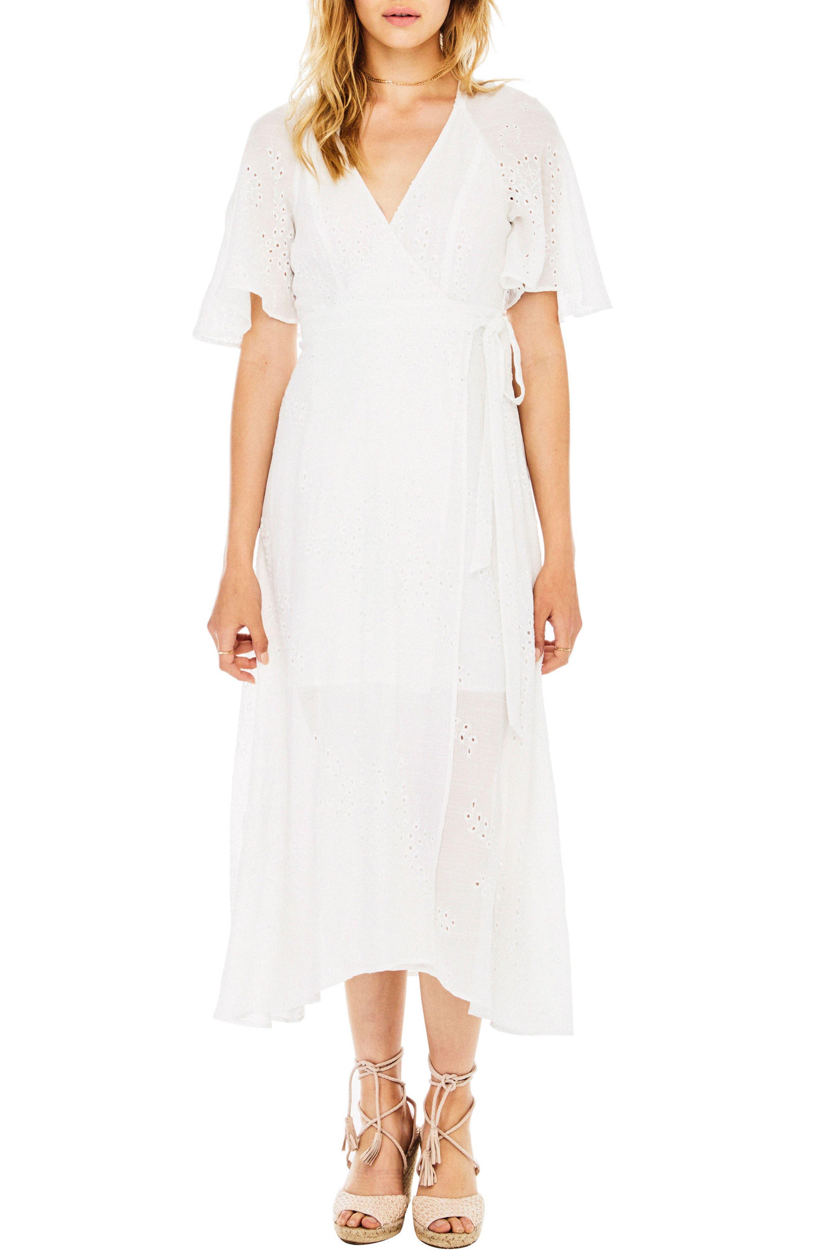 Gretchen Eyelet Wrap Dress,                         Main,                         color, 100