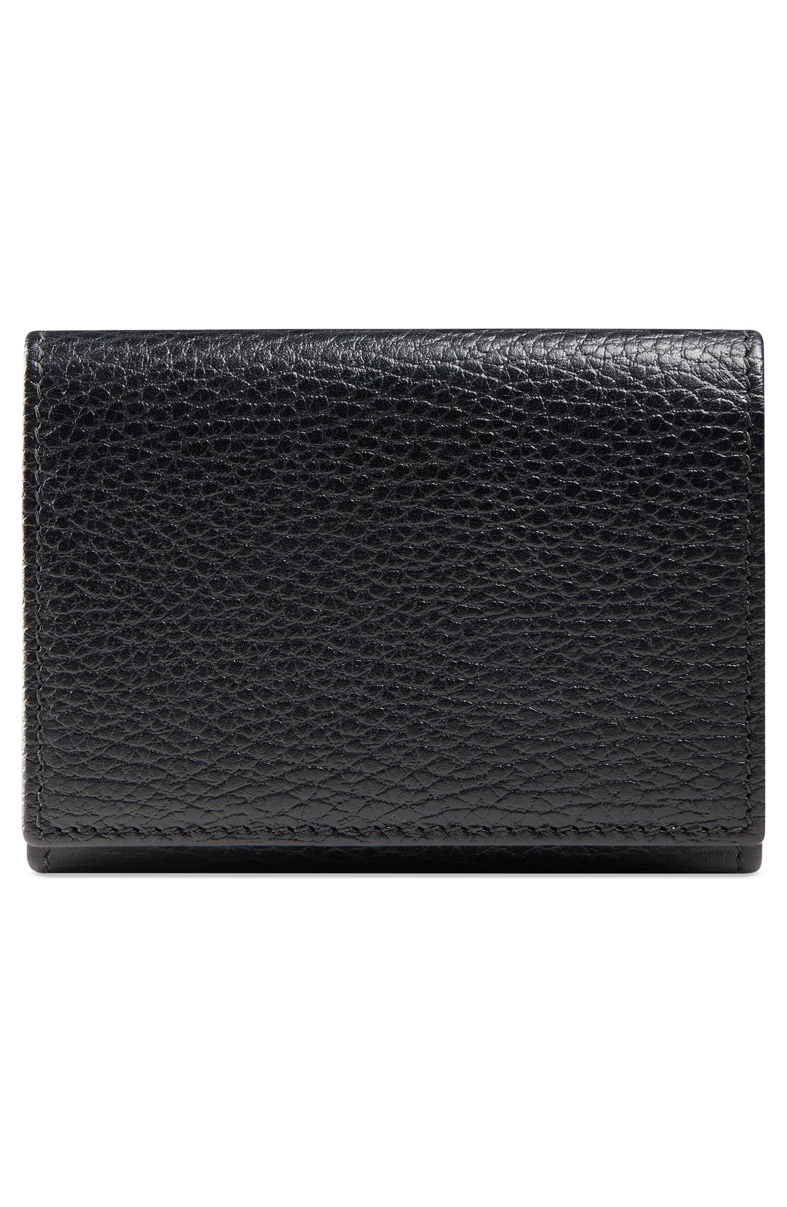 Petite Marmont Leather French Wallet,                             Alternate thumbnail 4, color,                             NERO