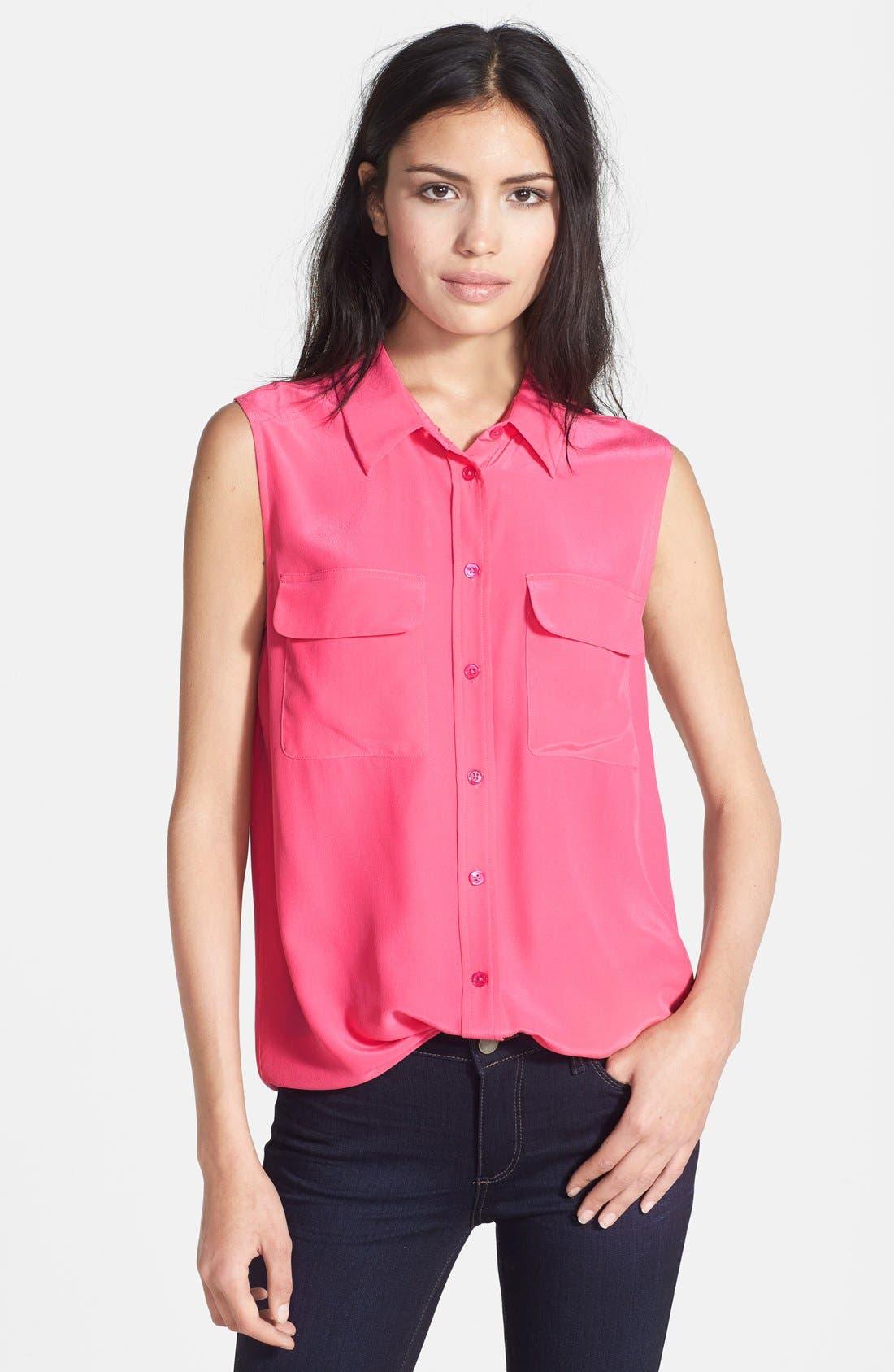 'Slim Signature' Sleeveless Silk Shirt,                             Main thumbnail 39, color,