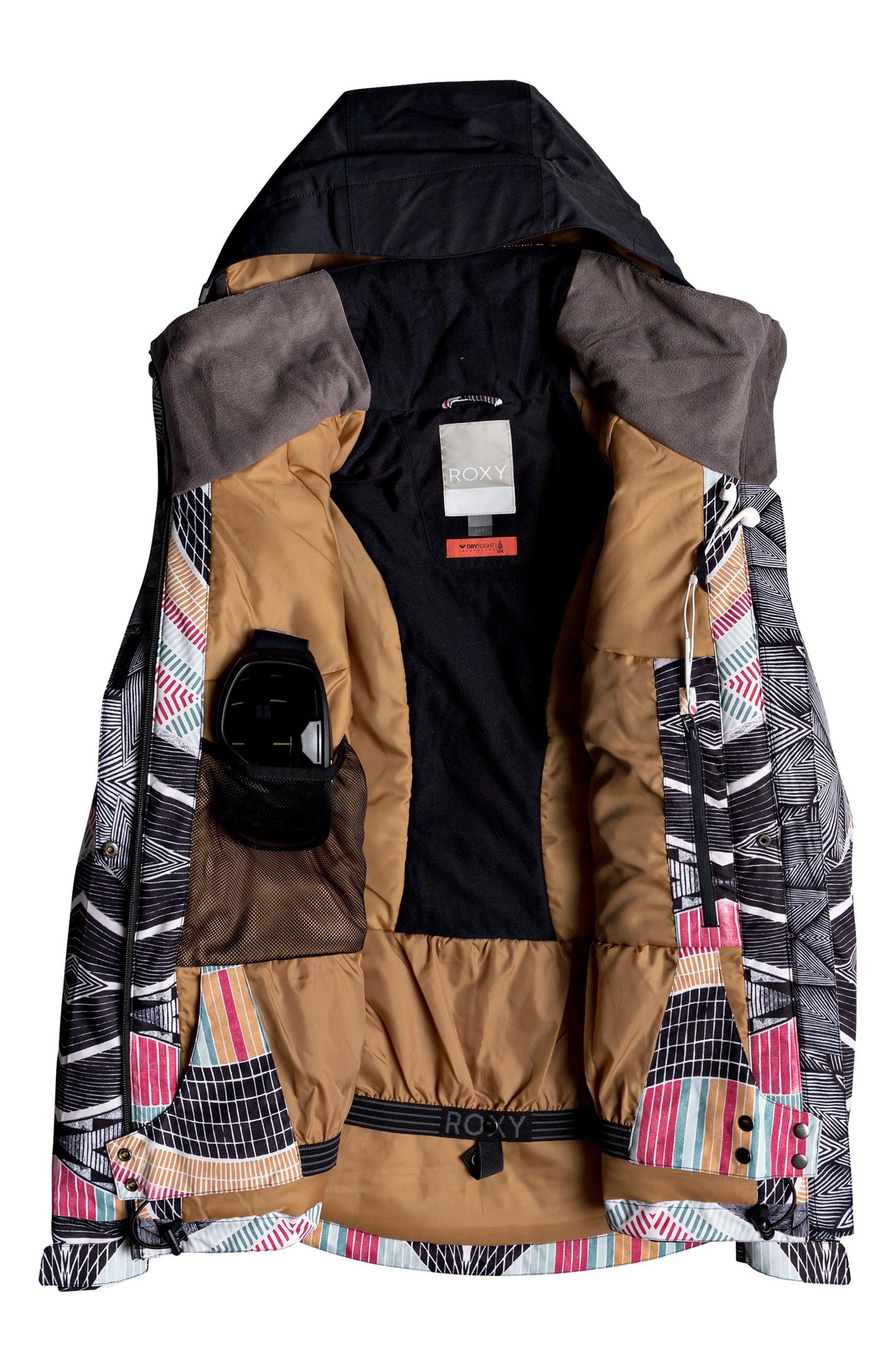 Frozen Flow Hooded Ski Jacket,                             Alternate thumbnail 3, color,                             TRUE BLACK/ POP SNOW STARS