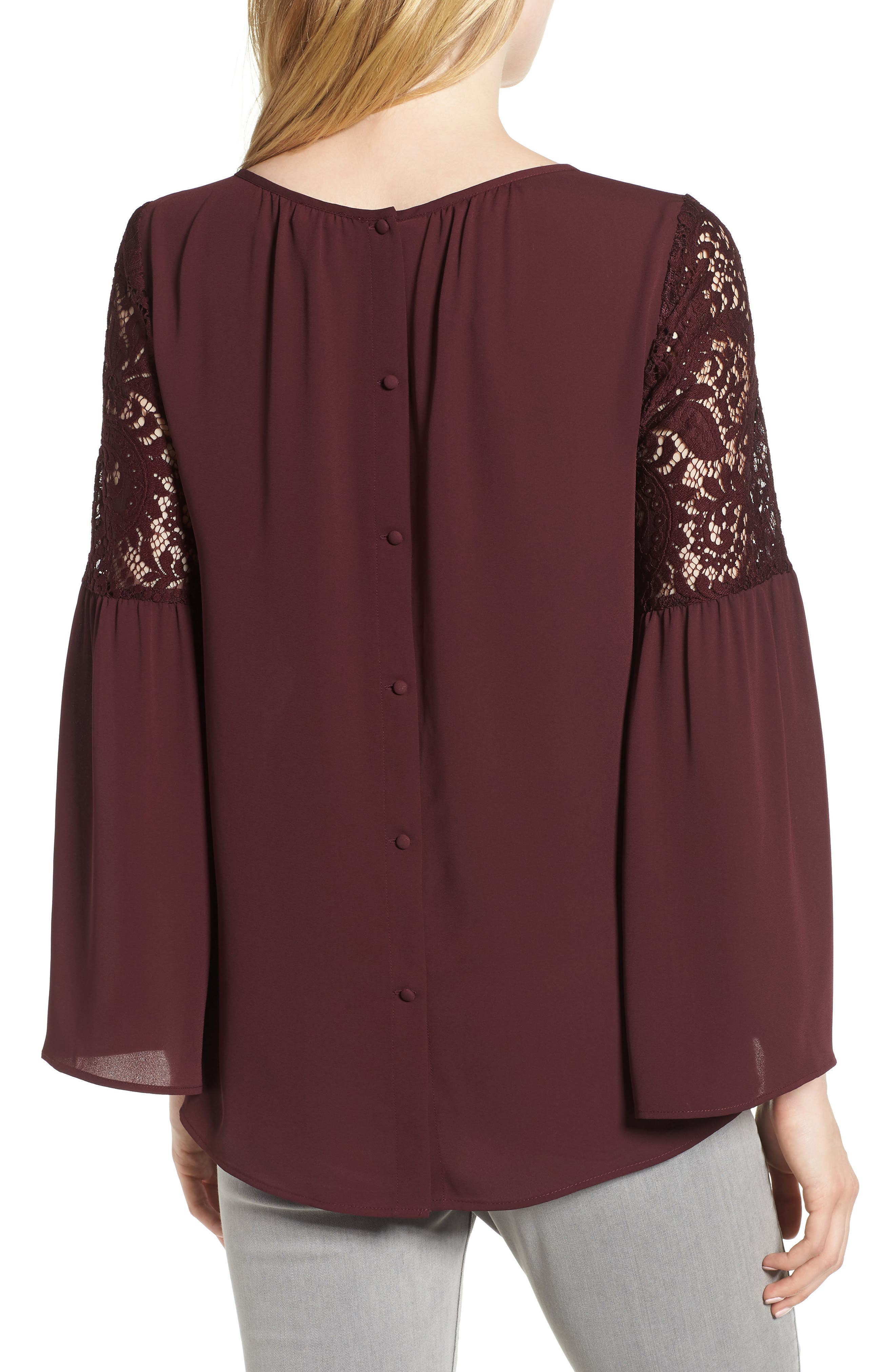 Lace Bell Sleeve Top,                             Alternate thumbnail 2, color,                             BURGUNDY STEM