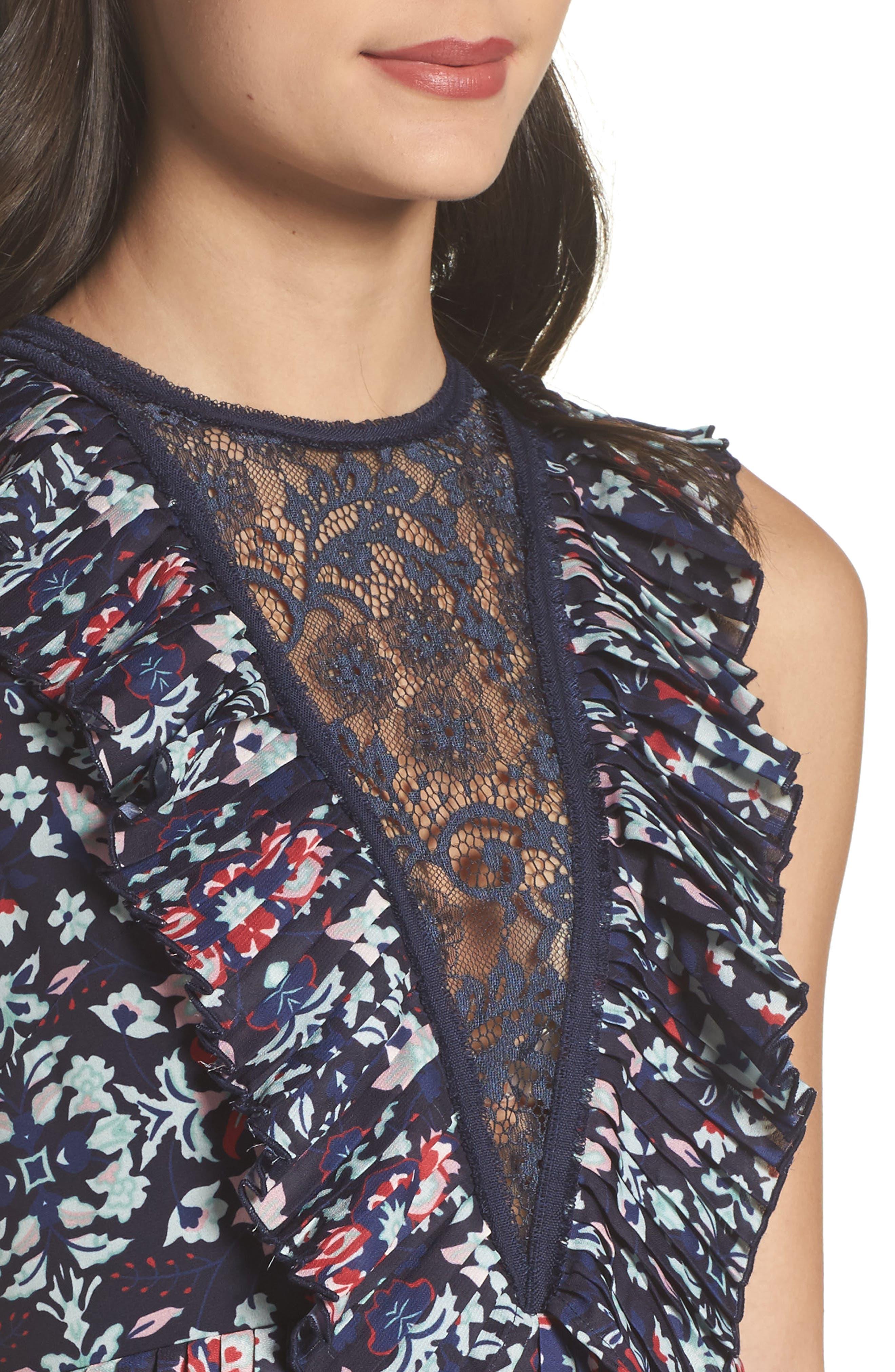 Miranda Pleat Ruffle Dress,                             Alternate thumbnail 4, color,                             400