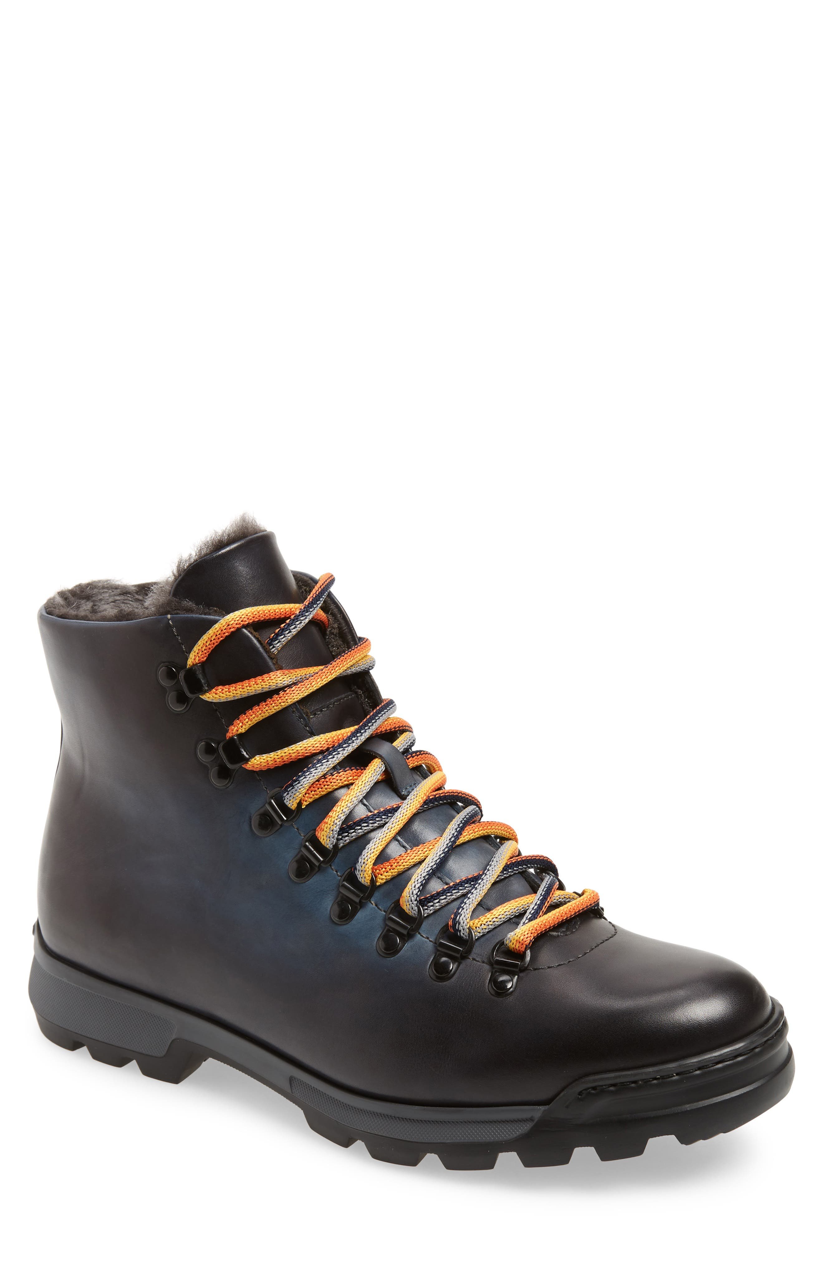 Oberon Genuine Shearling Lace-Up Hiking Boot,                             Main thumbnail 1, color,                             NAVY LEATHER