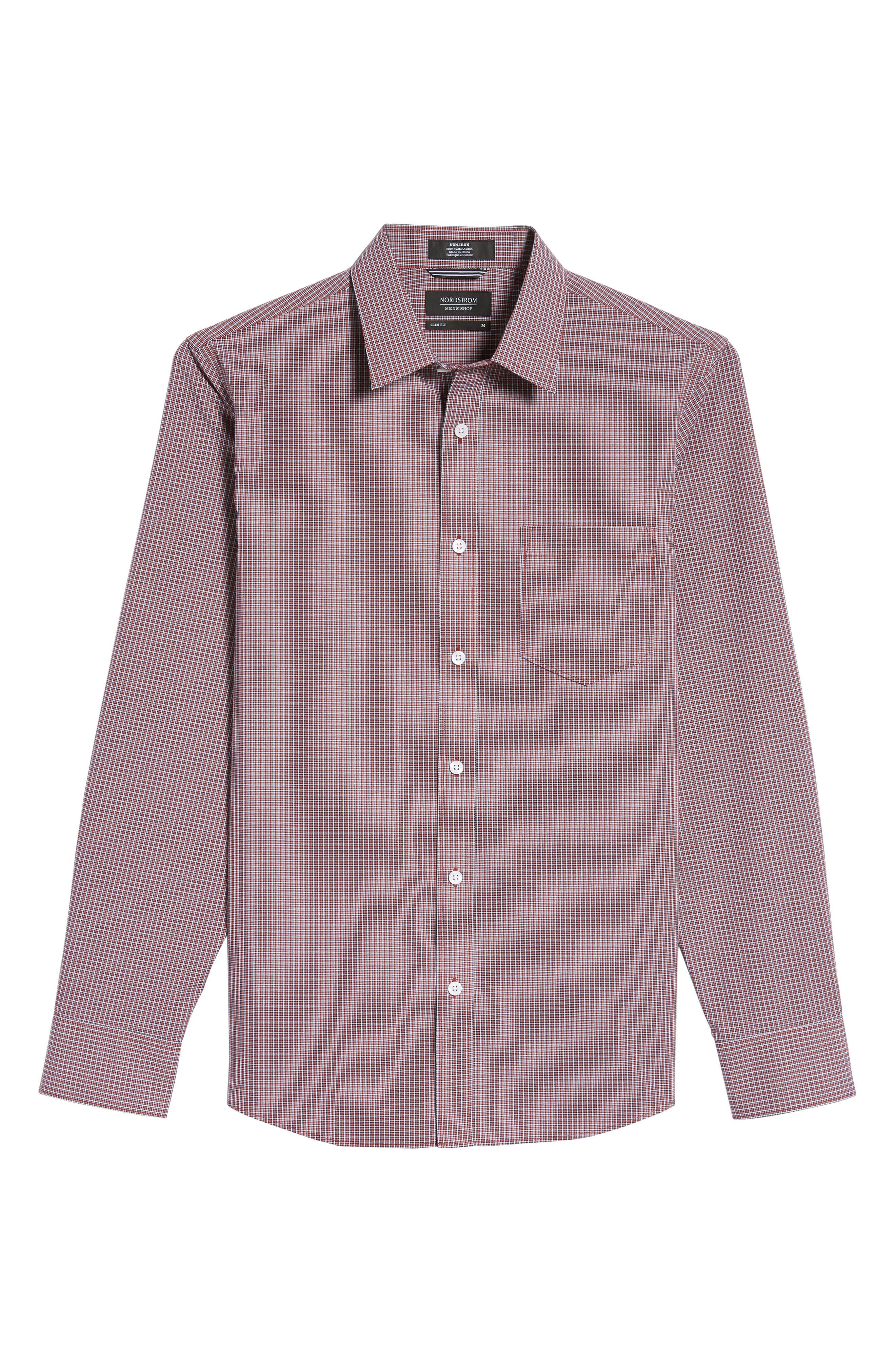 Trim Fit Non-Iron Mini Check Sport Shirt,                             Alternate thumbnail 6, color,                             610