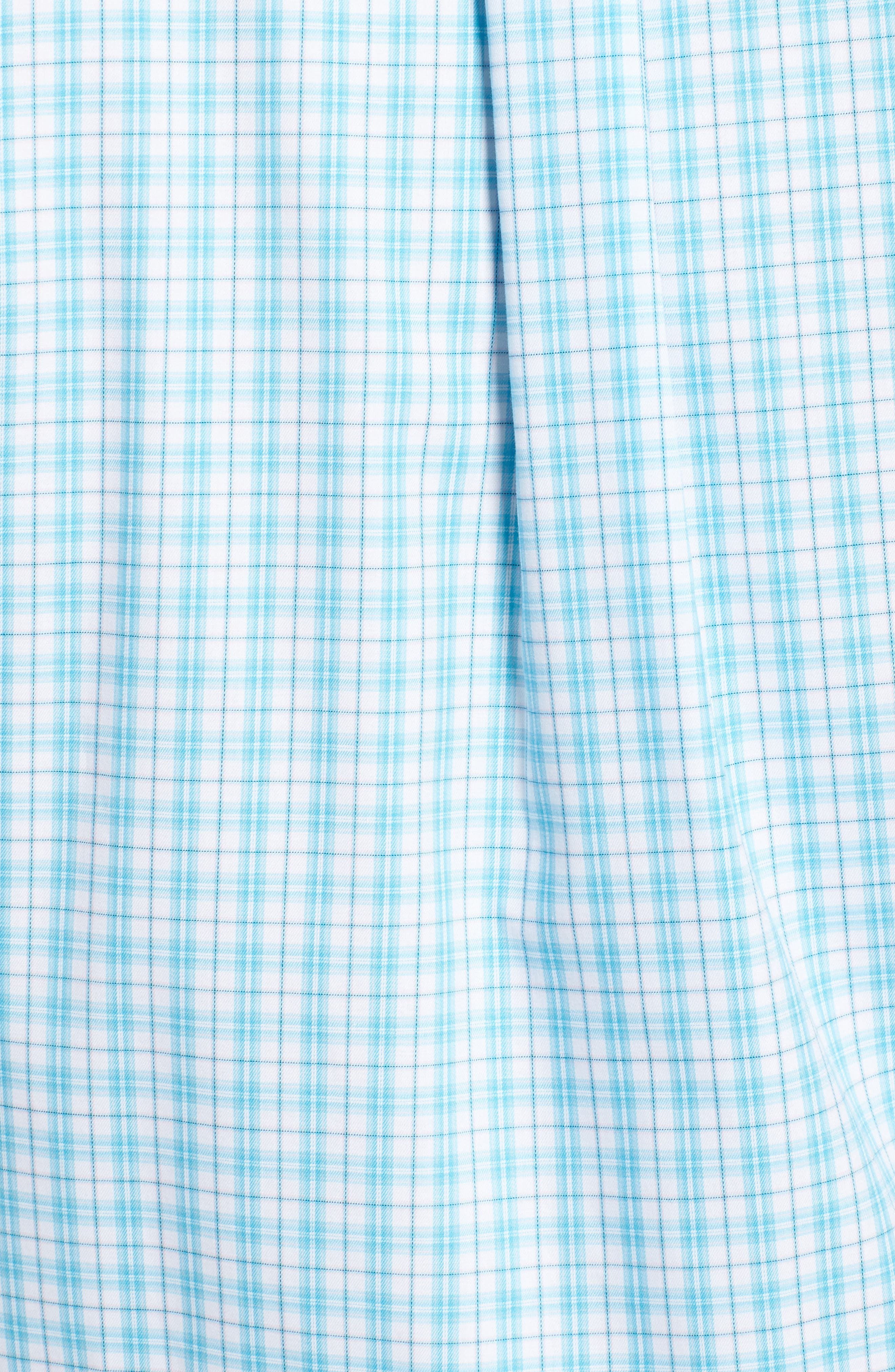 PETER MILLAR,                             Crown Ease Eventide Check Sport Shirt,                             Alternate thumbnail 5, color,                             BLUE FISH
