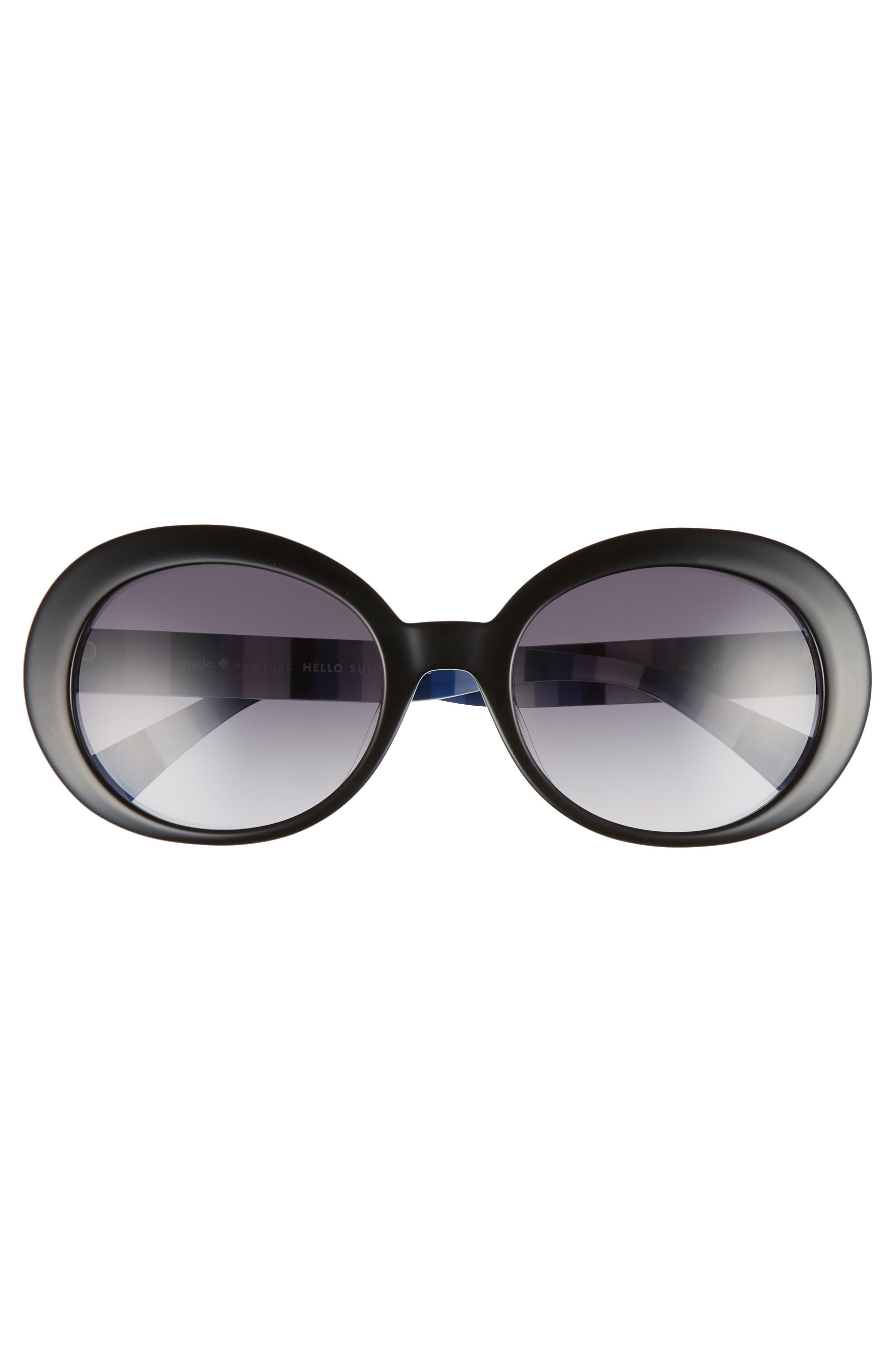 cindra 54mm gradient round sunglasses,                             Alternate thumbnail 3, color,                             BLACK