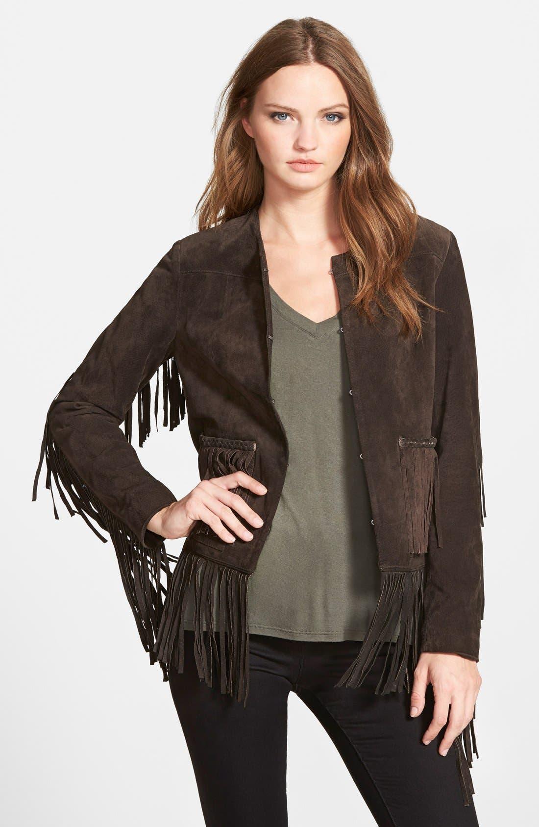 BLANKNYC Suede Fringe Jacket, Main, color, 200