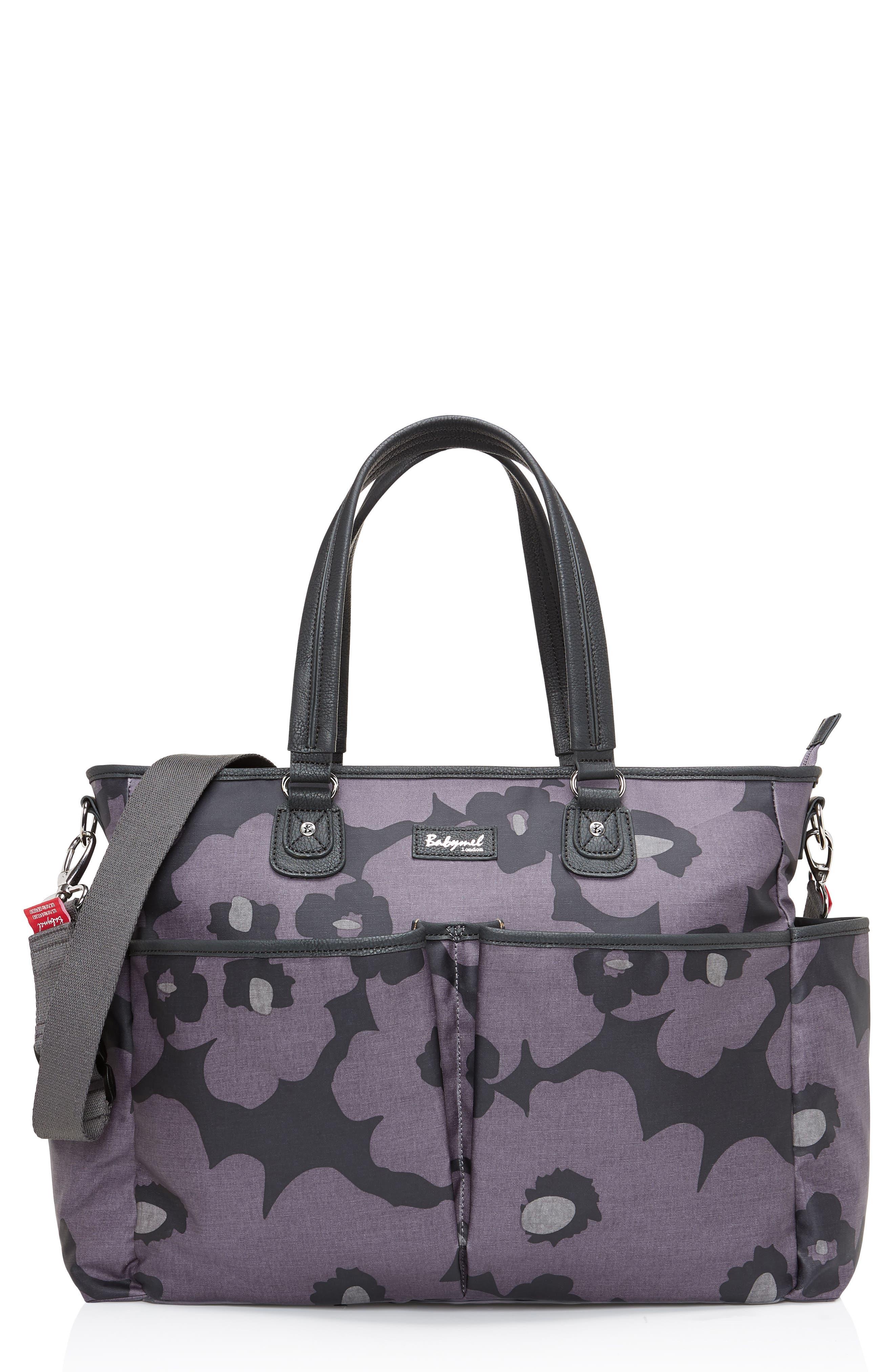 Bella Diaper Bag,                         Main,                         color, FLORAL GREY