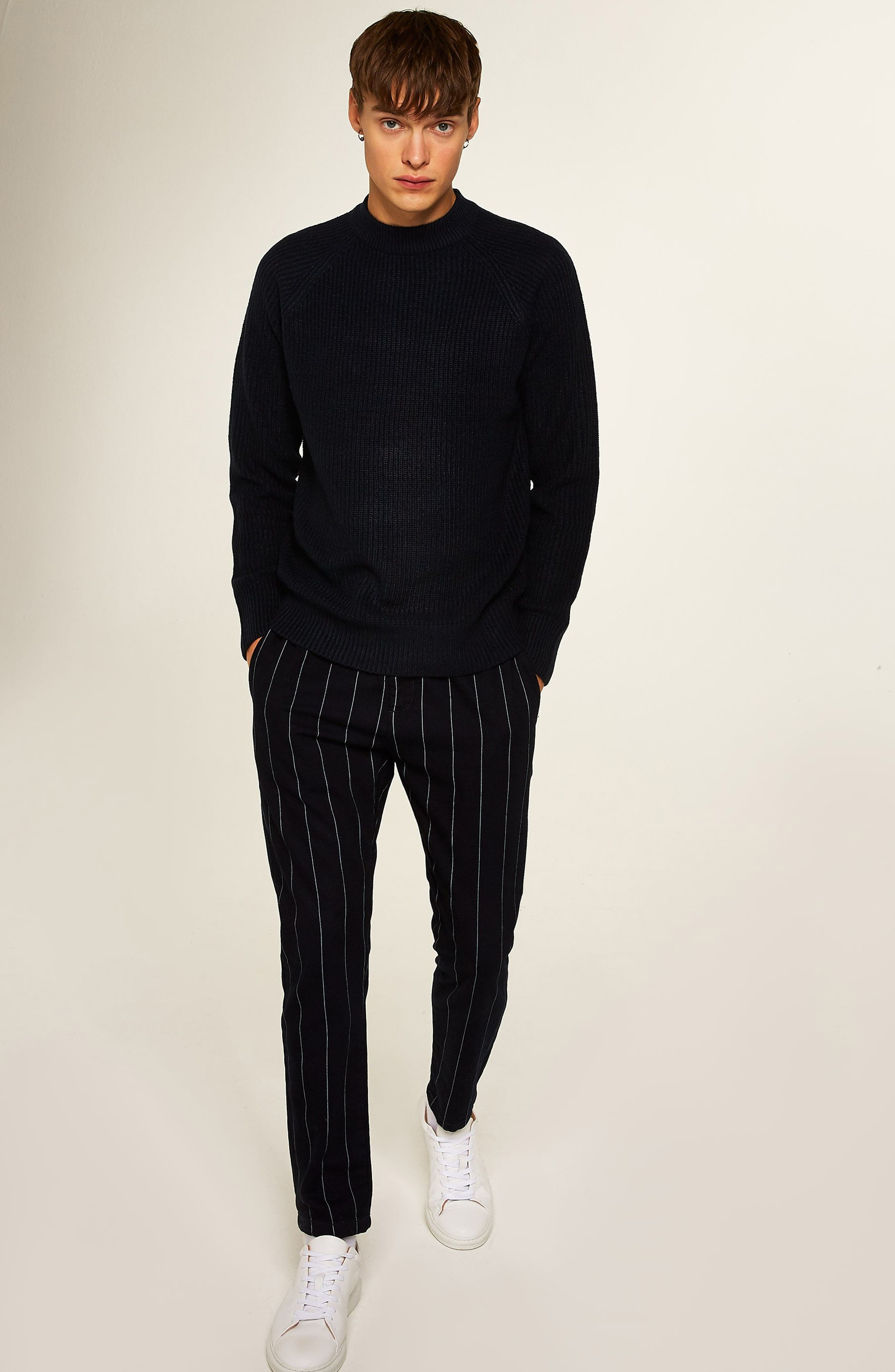 Ribbed Sweater,                             Alternate thumbnail 5, color,                             NAVY BLUE