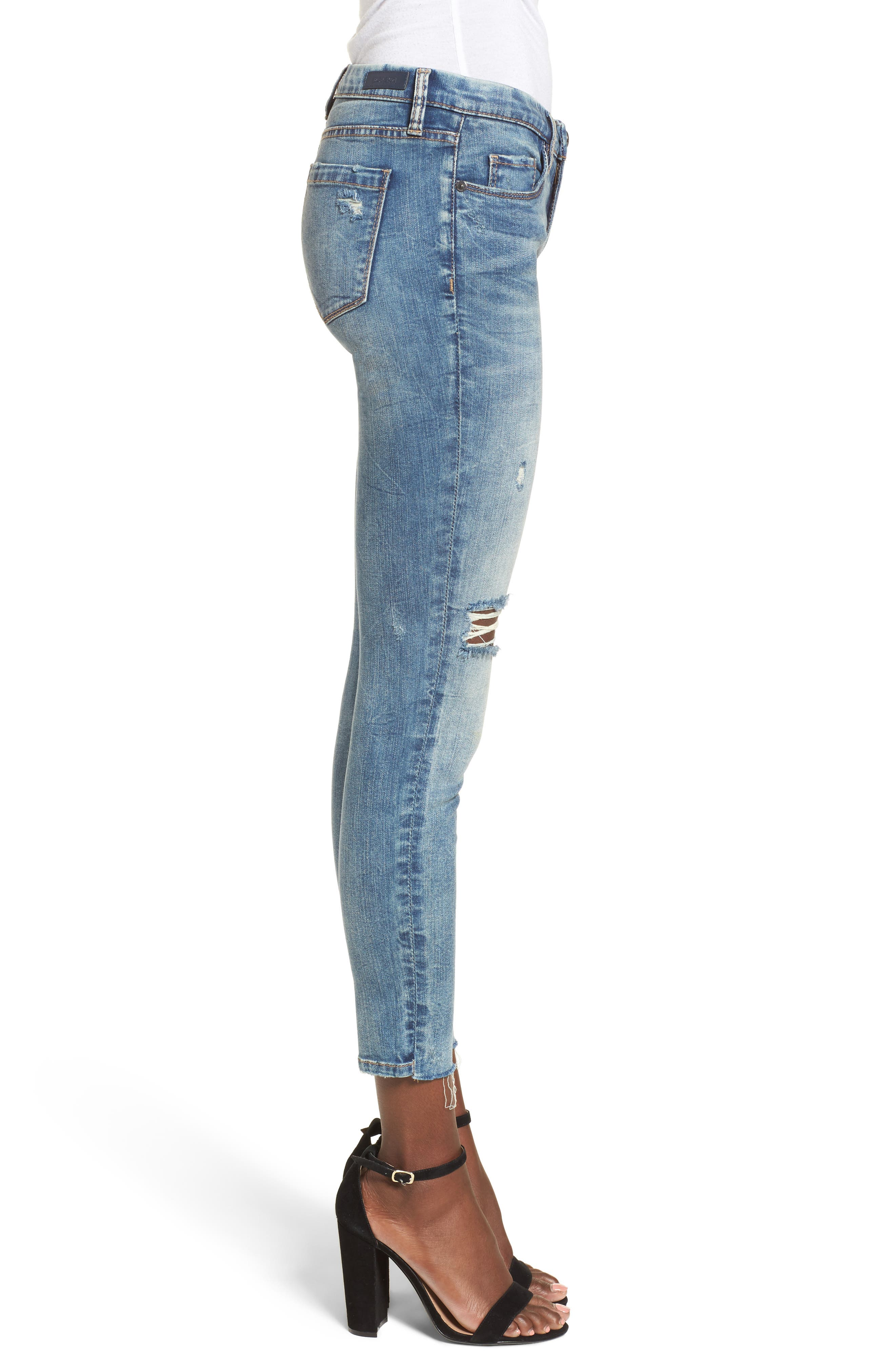 Distressed High Waist Skinny Jeans,                             Alternate thumbnail 3, color,                             400