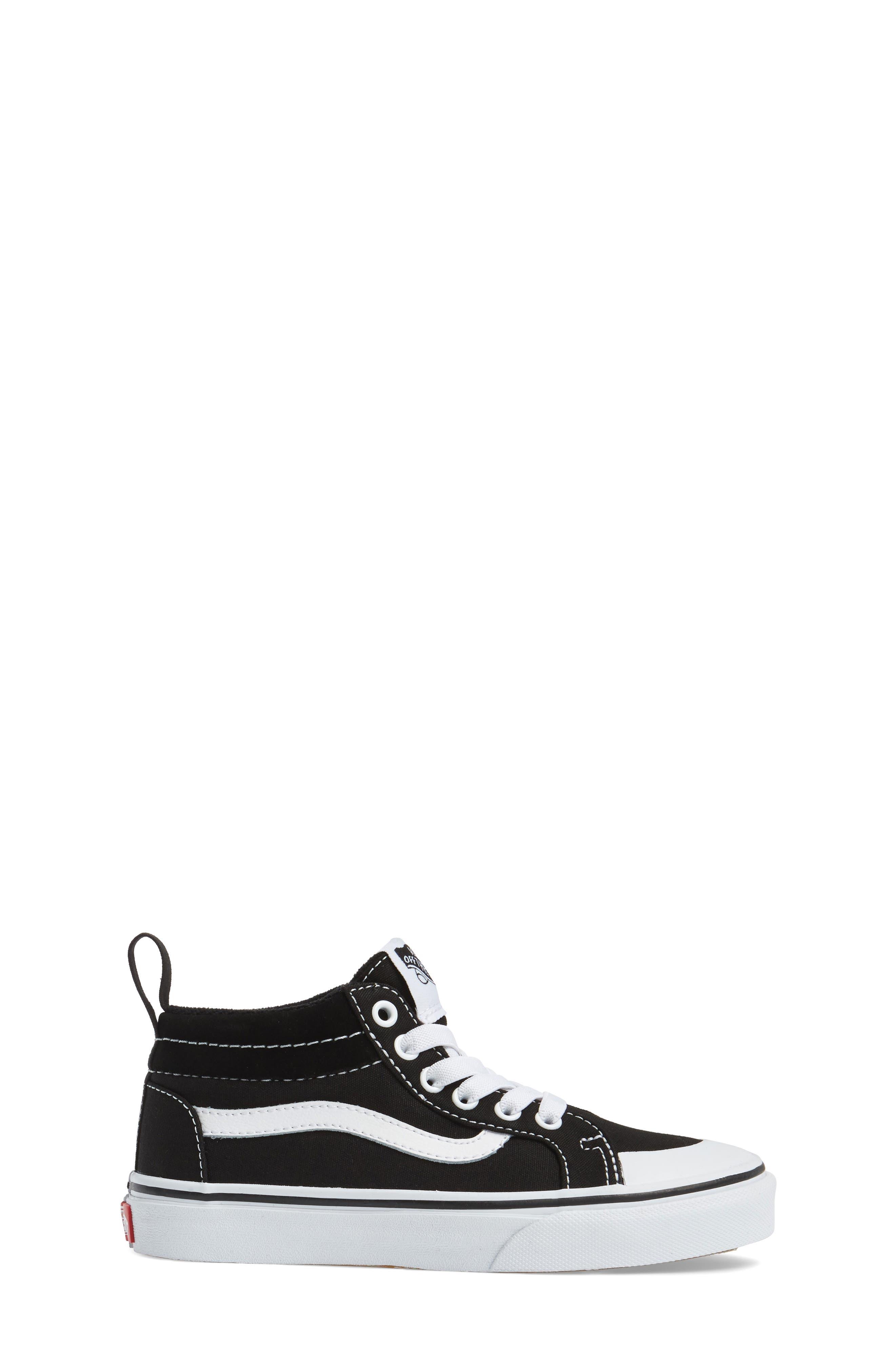 Racer Mid Elastic Lace Sneaker,                             Alternate thumbnail 3, color,                             BLACK/ TRUE WHITE CANVAS