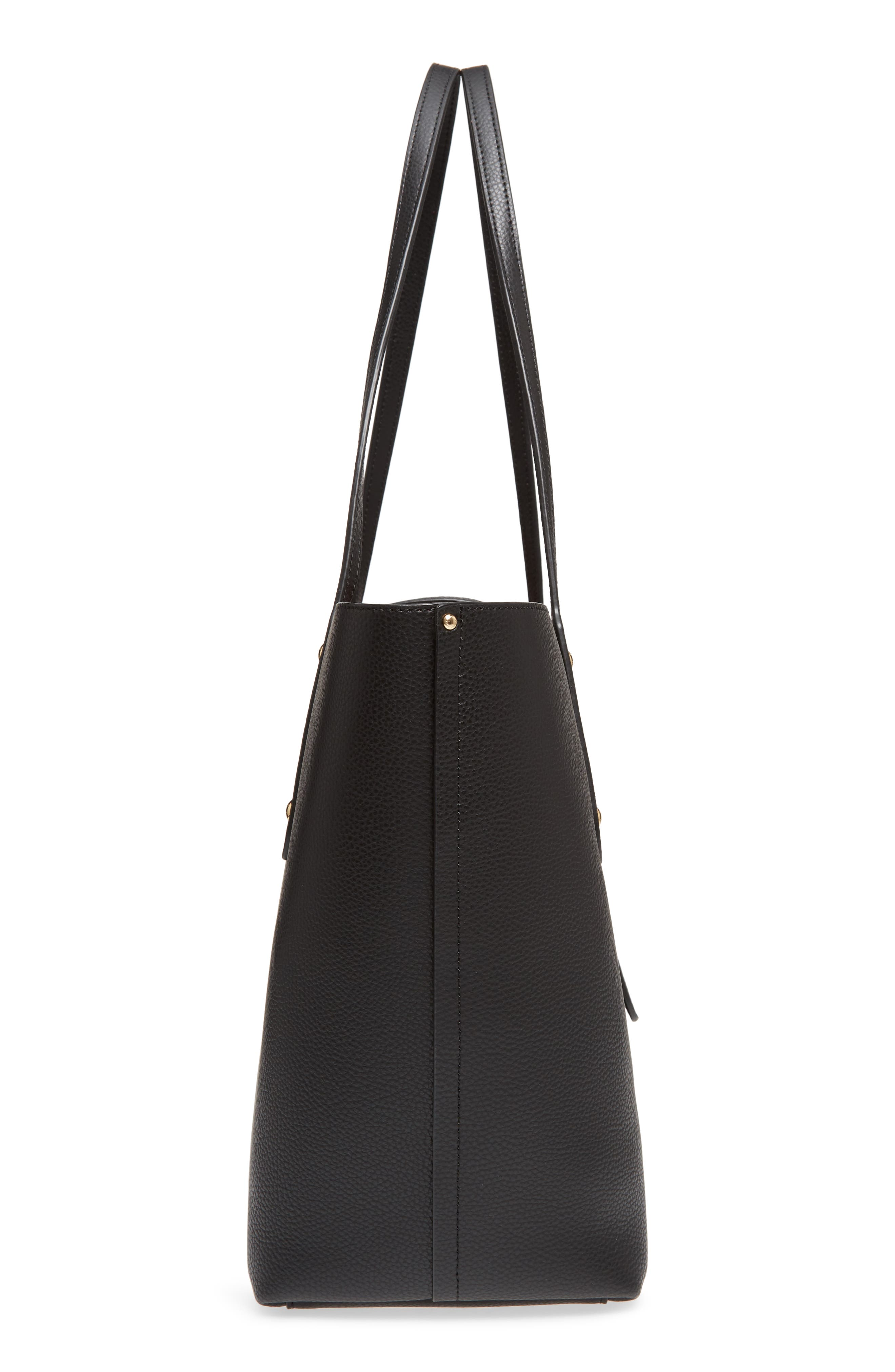 Market Pebbled Leather Tote,                             Alternate thumbnail 5, color,                             BLACK / TRUE RED