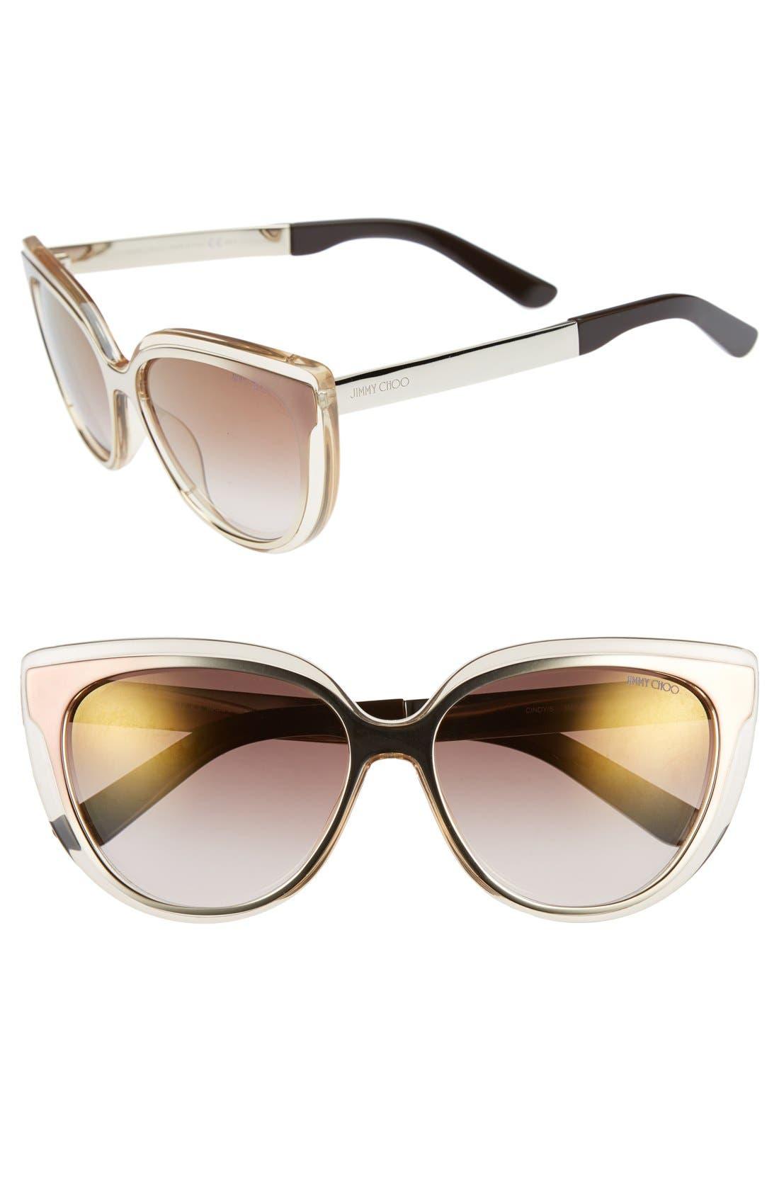 'Cindy' 57mm Retro Sunglasses,                             Main thumbnail 1, color,