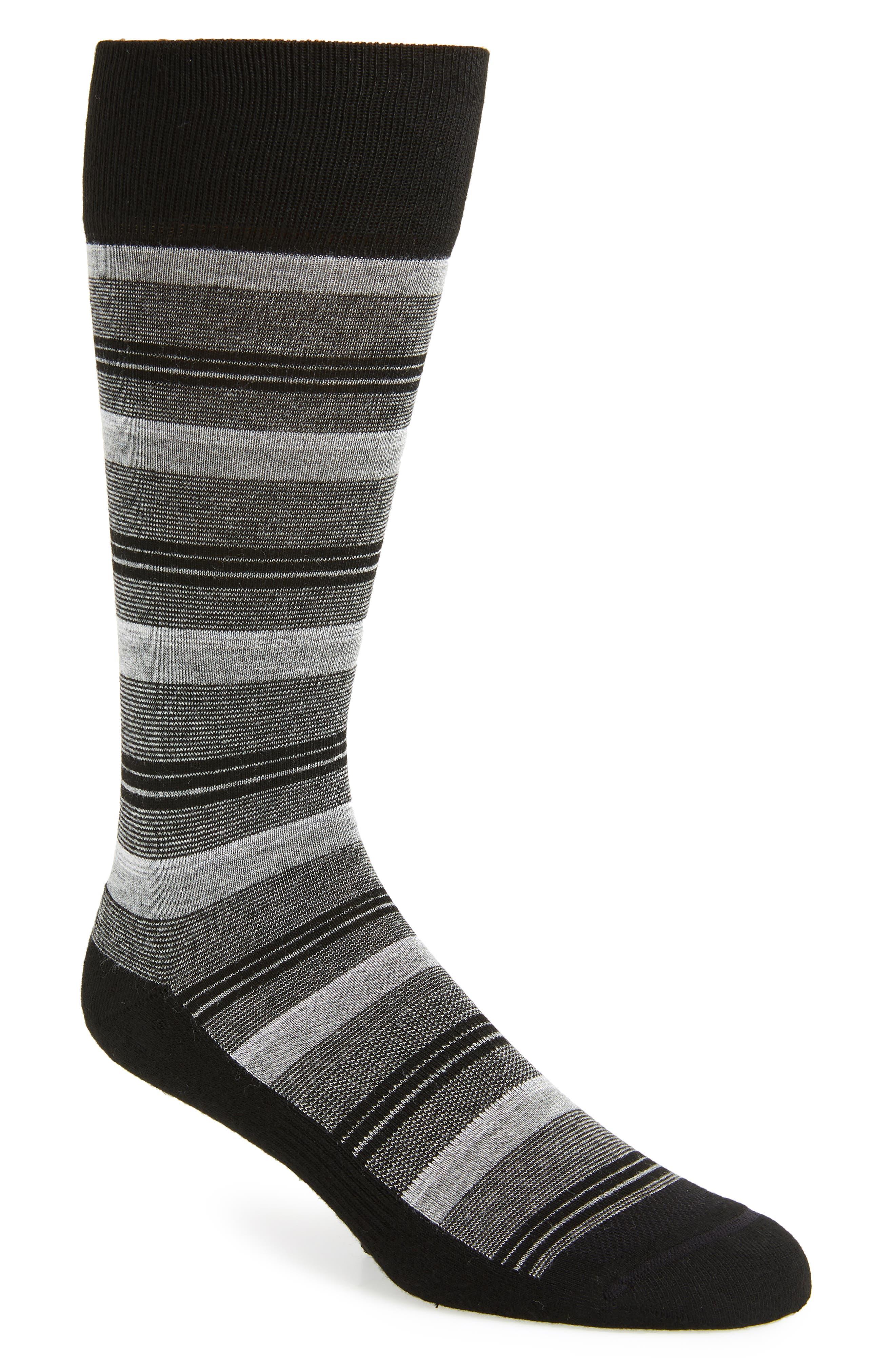 Blocked Fine Stripe Socks,                             Main thumbnail 1, color,                             BLACK/ GREY