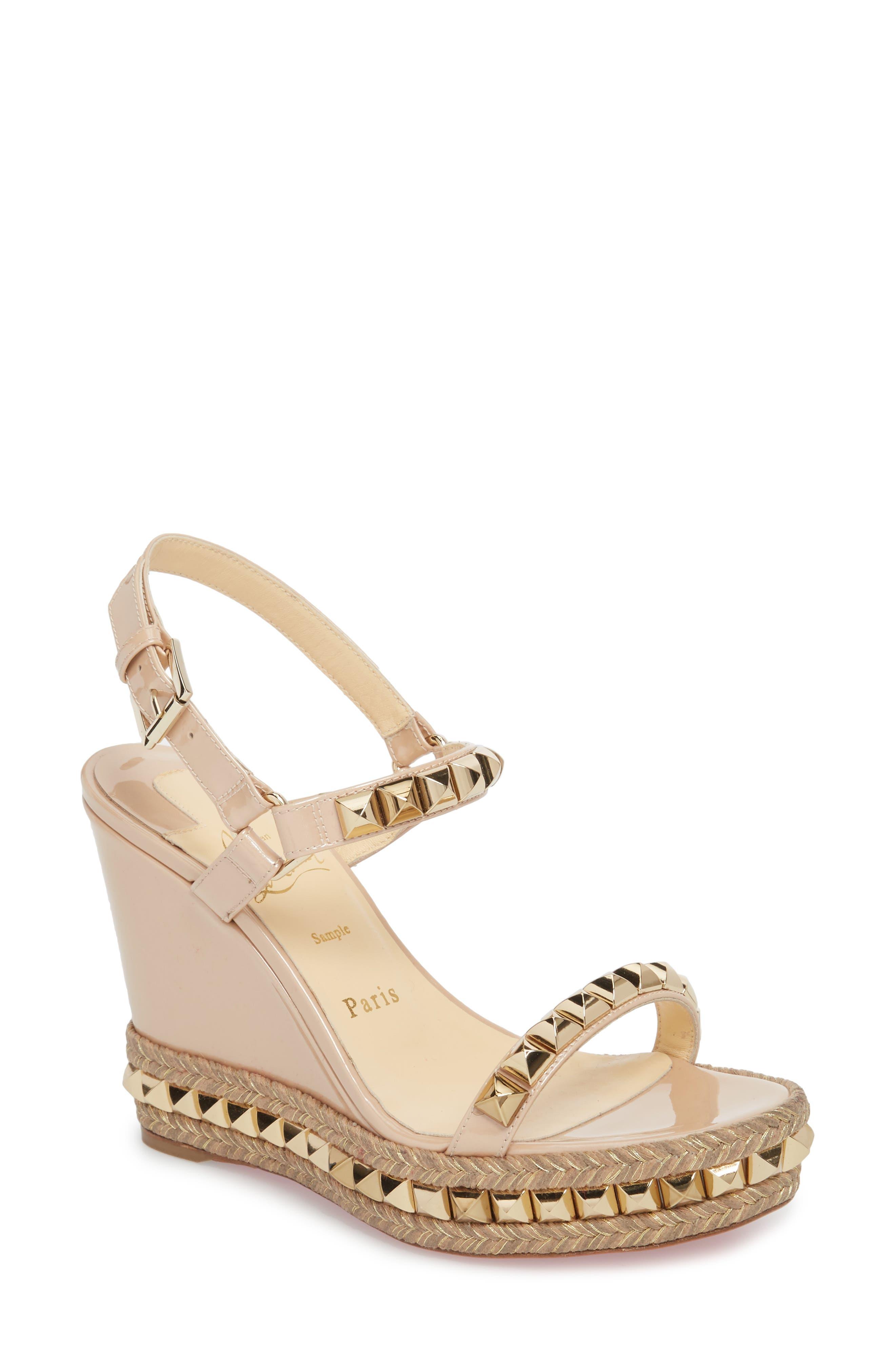 Cataclou Espadrille Wedge Sandal,                         Main,                         color, NUDE/ LIGHT GOLD