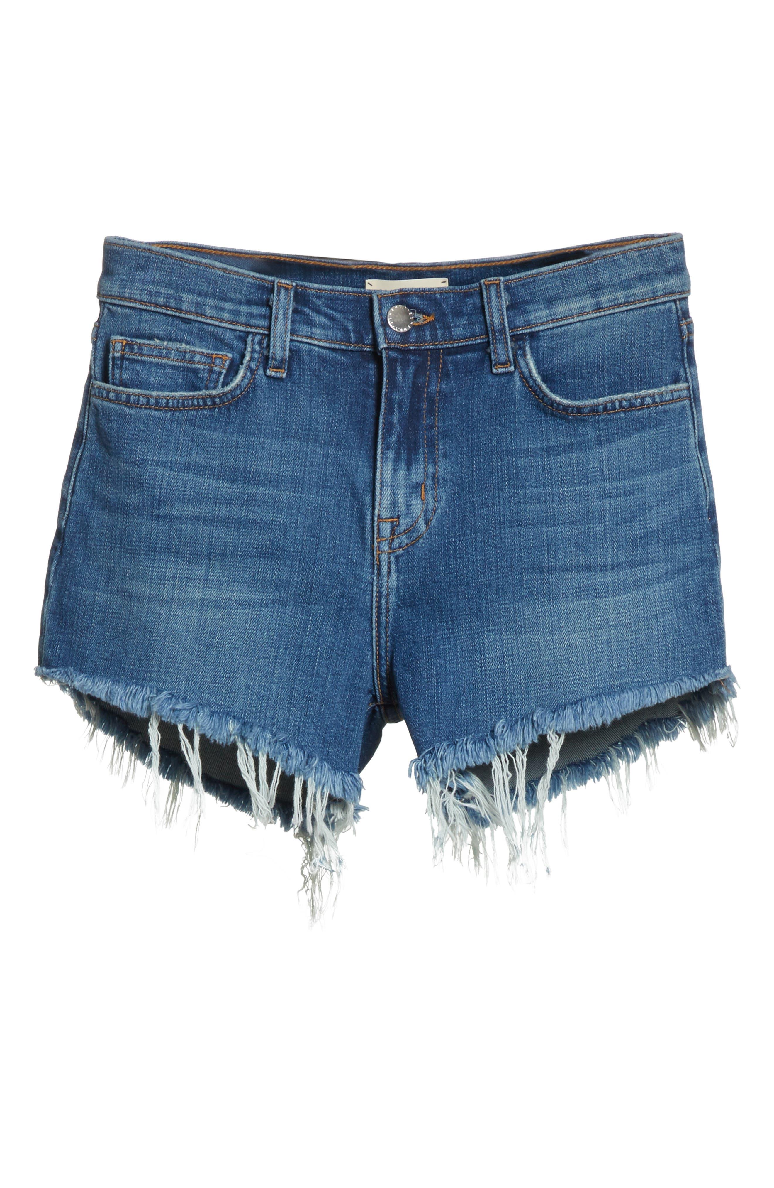 Ryland High Waist Denim Shorts,                             Alternate thumbnail 7, color,                             AUTHENTIQUE