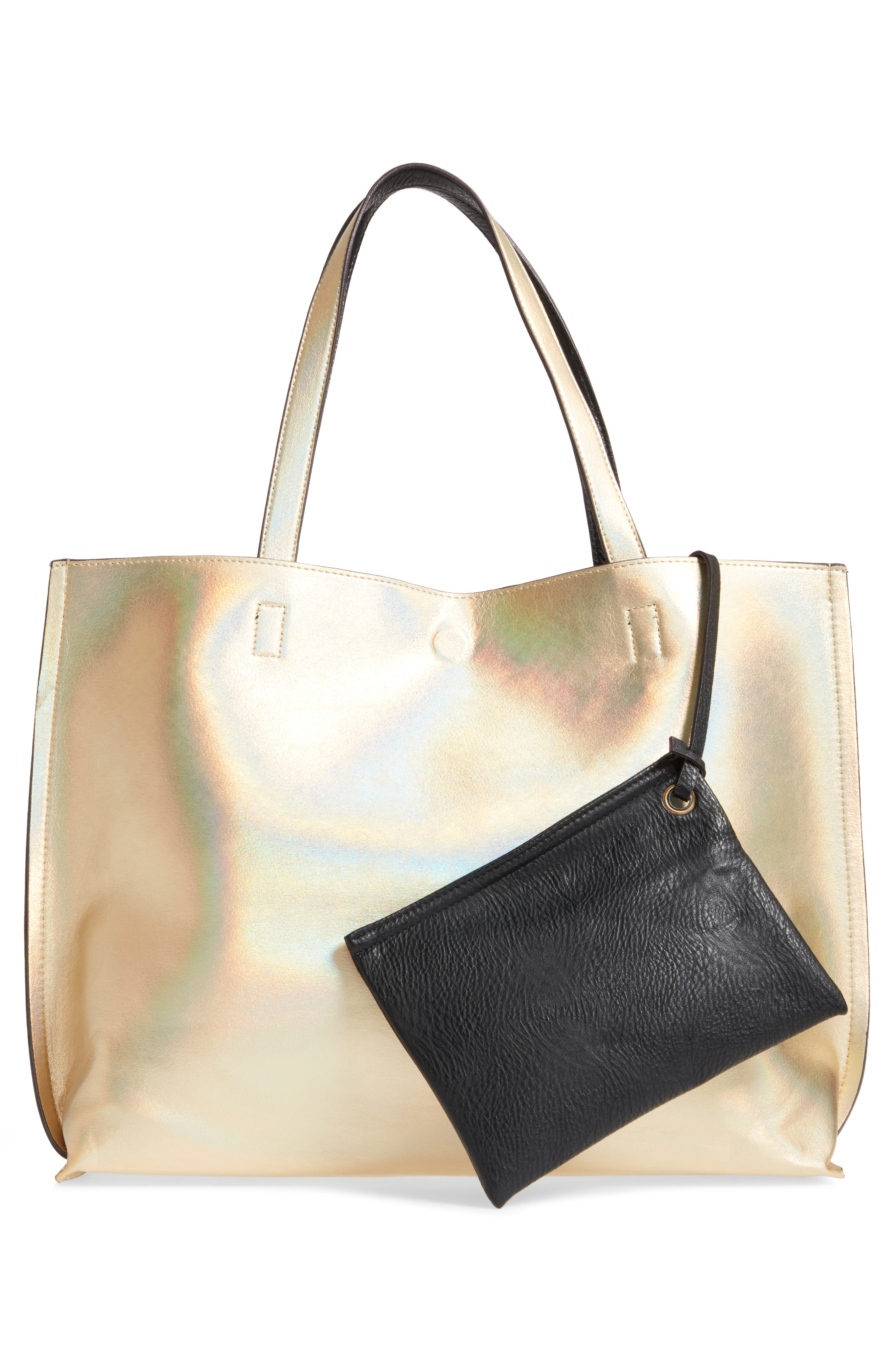 Reversible Faux Leather Tote,                             Alternate thumbnail 28, color,