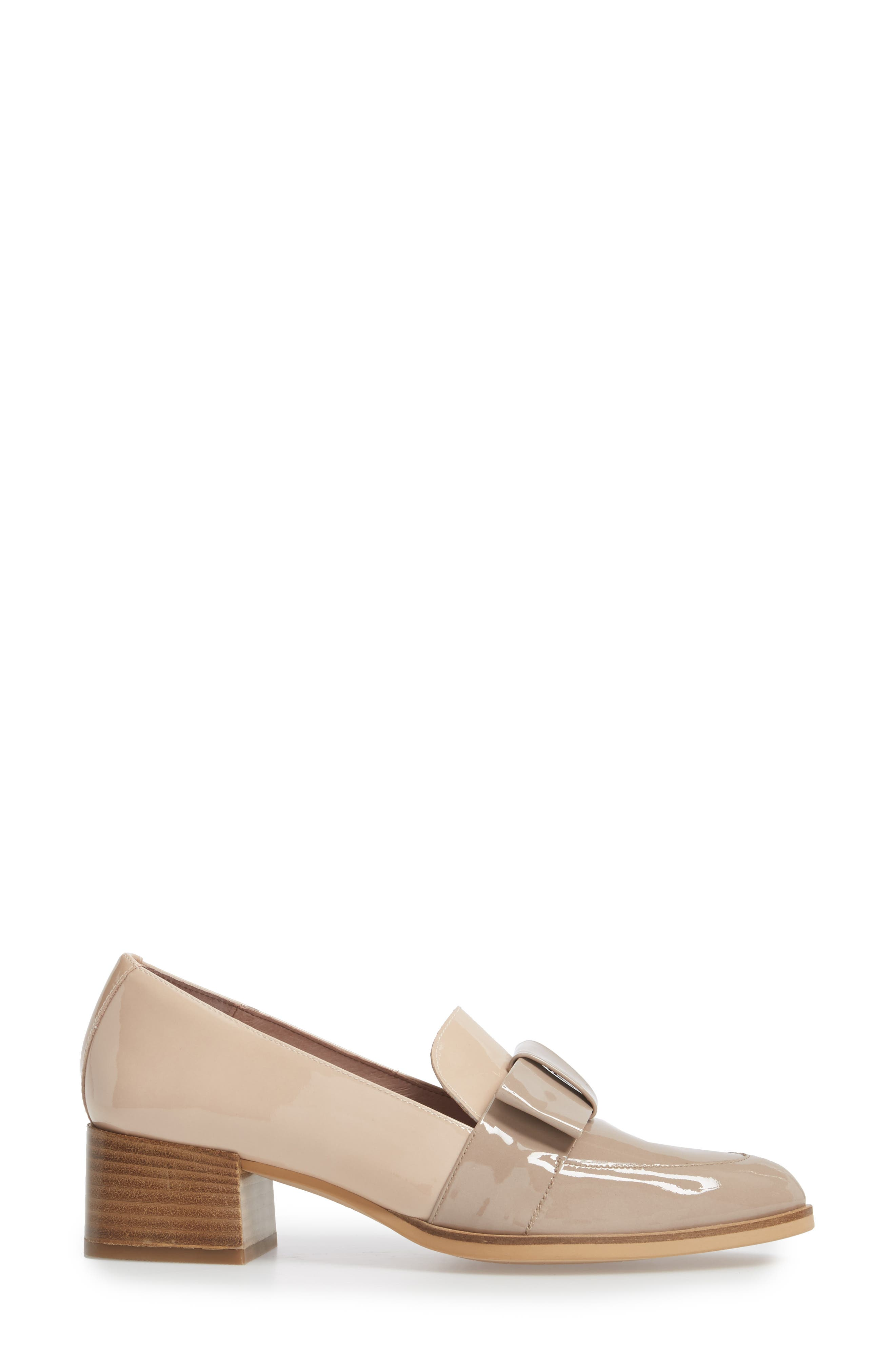Block Heel Loafer Pump,                             Alternate thumbnail 3, color,                             TAUPE/ PALO PATENT LEATHER