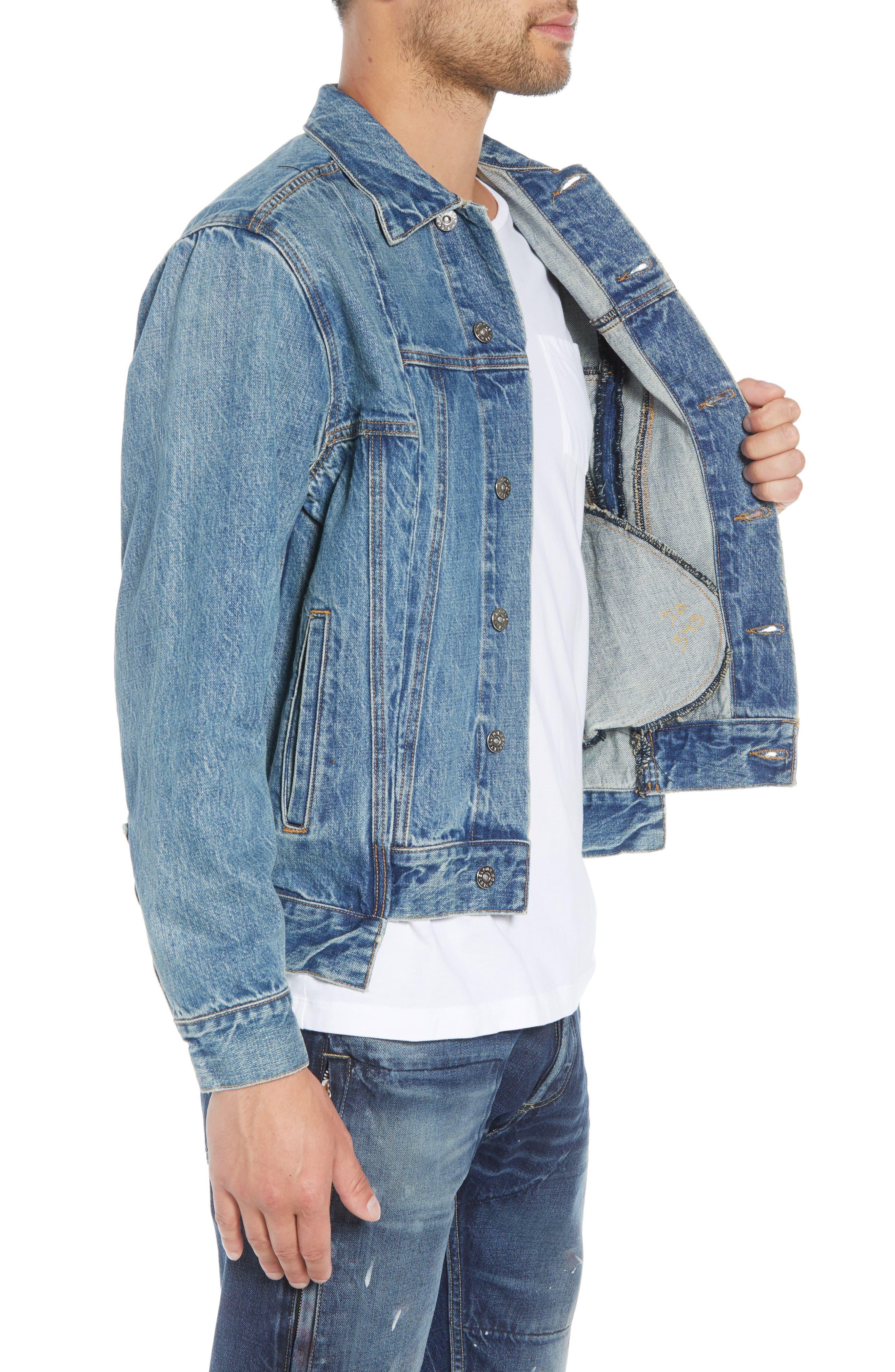 Slim Fit Denim Jacket,                             Alternate thumbnail 3, color,                             WASHED