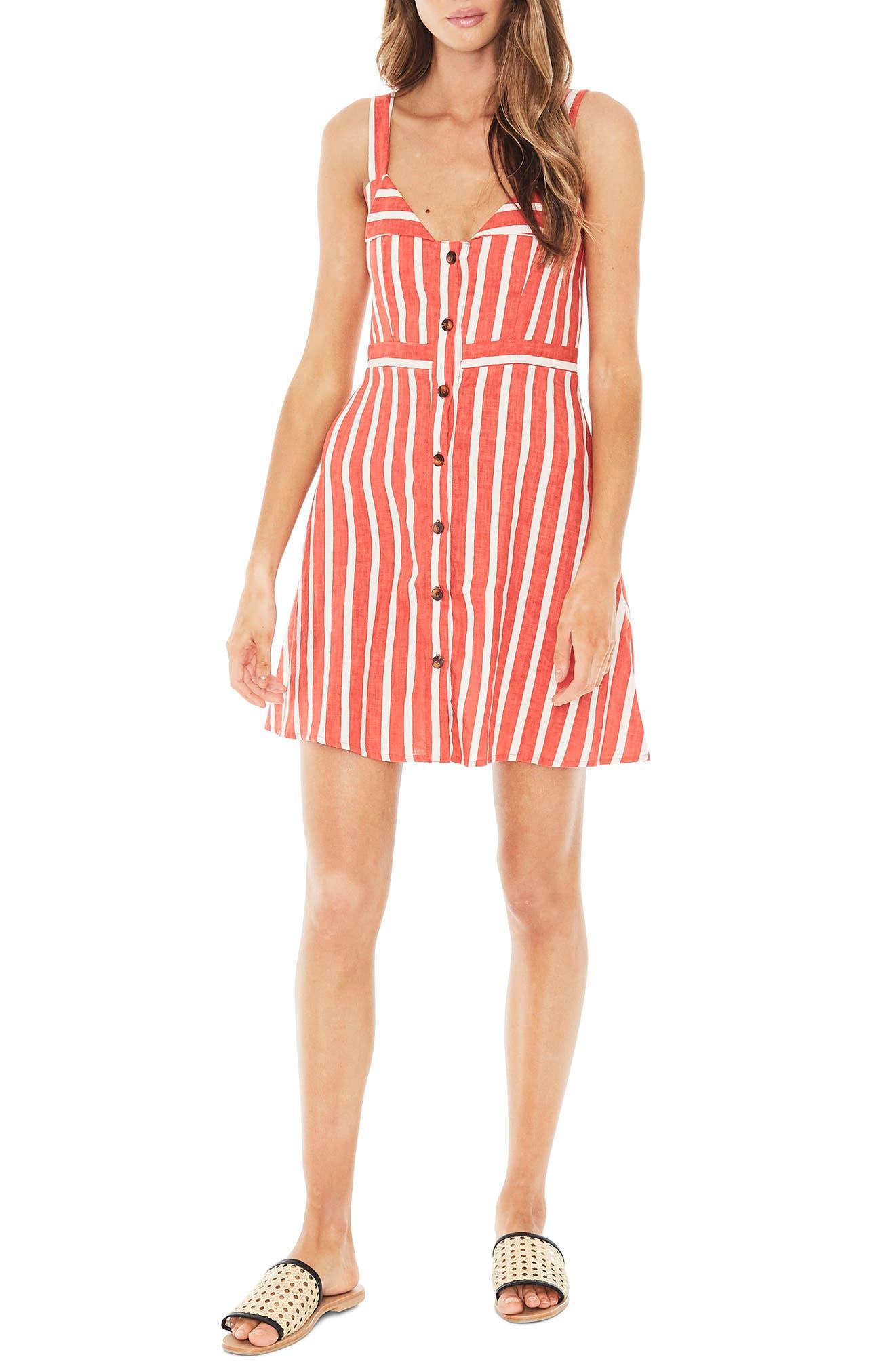 Le Petite Linen Dress,                         Main,                         color, MAZUR STRIPE PRINT - TANGERINE